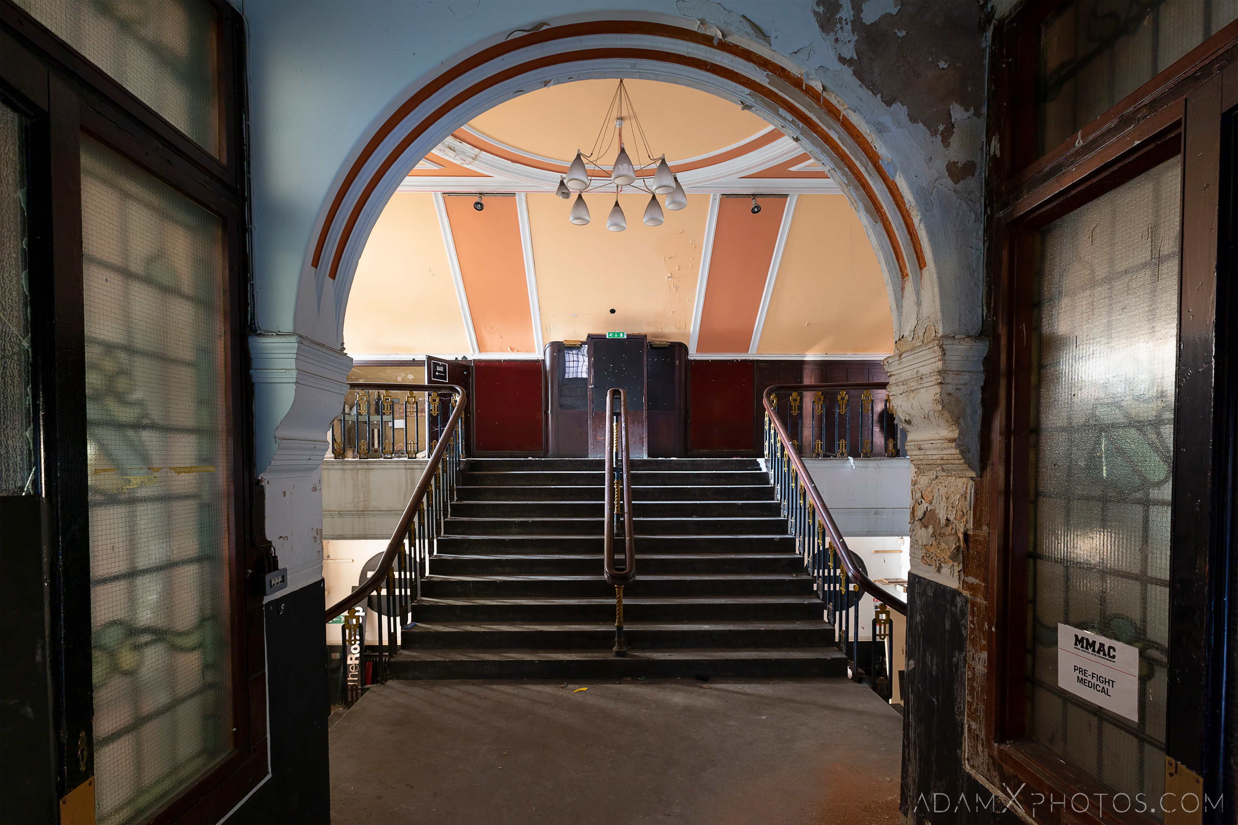 Lobby foyer stairs Birmingham Methodist Central Hall Q Club Adam X Urbex Urban Exploration Access 2018 Abandoned decay lost forgotten derelict location creepy haunting eerie