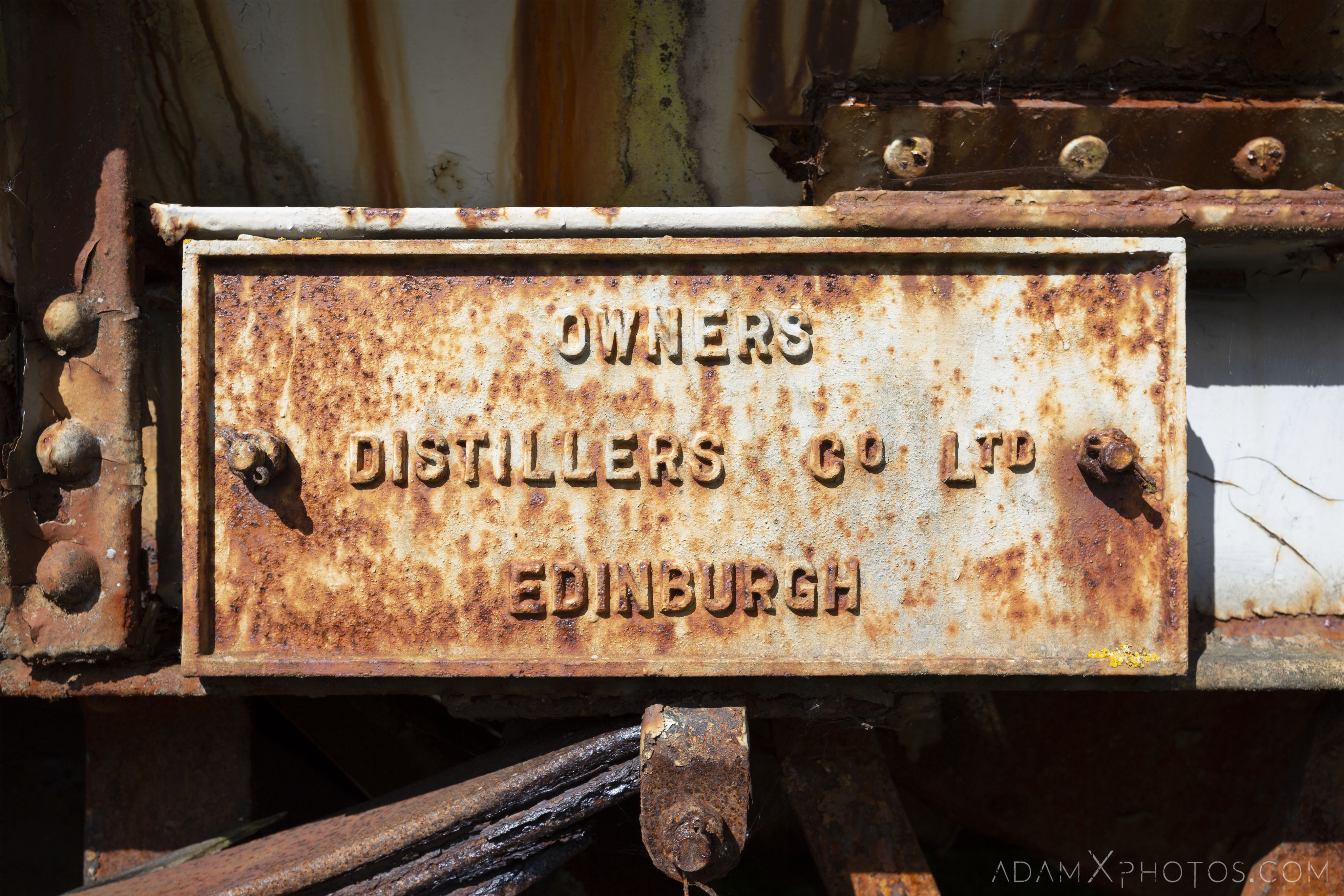 rusting sign Distillers Co Ltd Edinburgh Abandoned Trains Waterside Dunaskin Adam X Urbex Urban Exploration Access 2018 Abandoned decay lost forgotten derelict location creepy haunting eerie