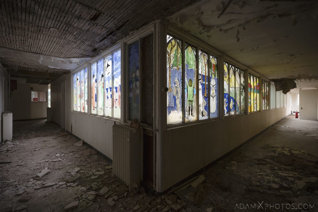 split corridor children's ward colourful windows stained glass home made Stratheden Hospital Fife Scotland Adam X Urbex Urban Exploration Access 2018 Abandoned decay ruins lost forgotten derelict location creepy haunting eerie
