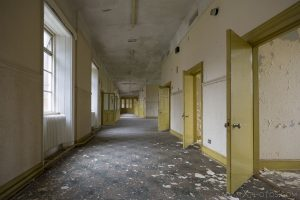 Corridor yellow wards Sunnyside Royal Hospital Montrose Scotland Adam X Urbex Urban Exploration Access 2018 Abandoned decay ruins lost forgotten derelict location creepy haunting eerie