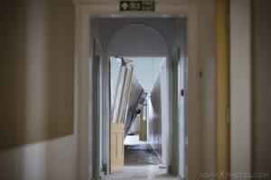 Smashed corridor Sunnyside Royal Hospital Montrose Scotland Adam X Urbex Urban Exploration Access 2018 Abandoned decay ruins lost forgotten derelict location creepy haunting eerie