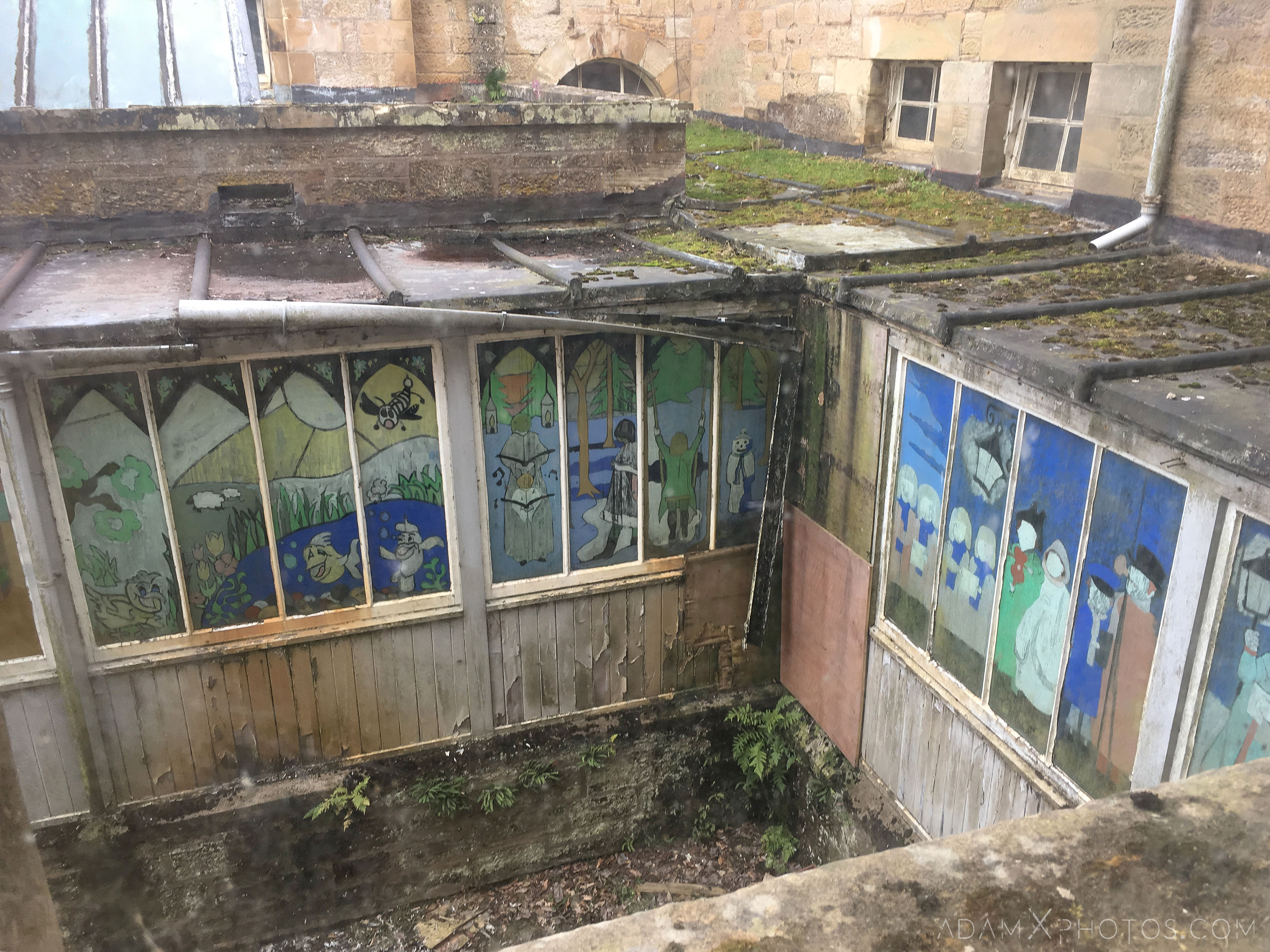 Children's ward corridor painted windows external view Stratheden Hospital Fife Scotland Adam X Urbex Urban Exploration Access 2018 Abandoned decay ruins lost forgotten derelict location creepy haunting eerie