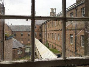Exterior corridor covered smashed window Sunnyside Royal Hospital Montrose Scotland Adam X Urbex Urban Exploration Access 2018 Abandoned decay ruins lost forgotten derelict location creepy haunting eerie