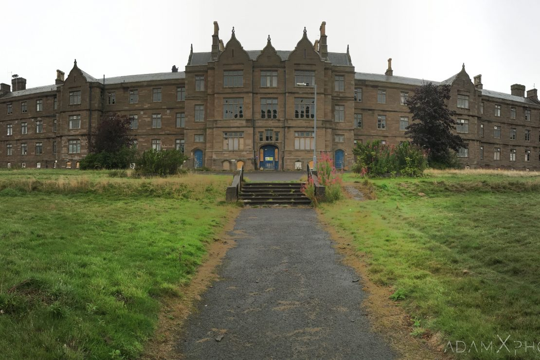 Front exterior external main building entrance Sunnyside Royal Hospital Montrose Scotland Adam X Urbex Urban Exploration Access 2018 Abandoned decay ruins lost forgotten derelict location creepy haunting eerie