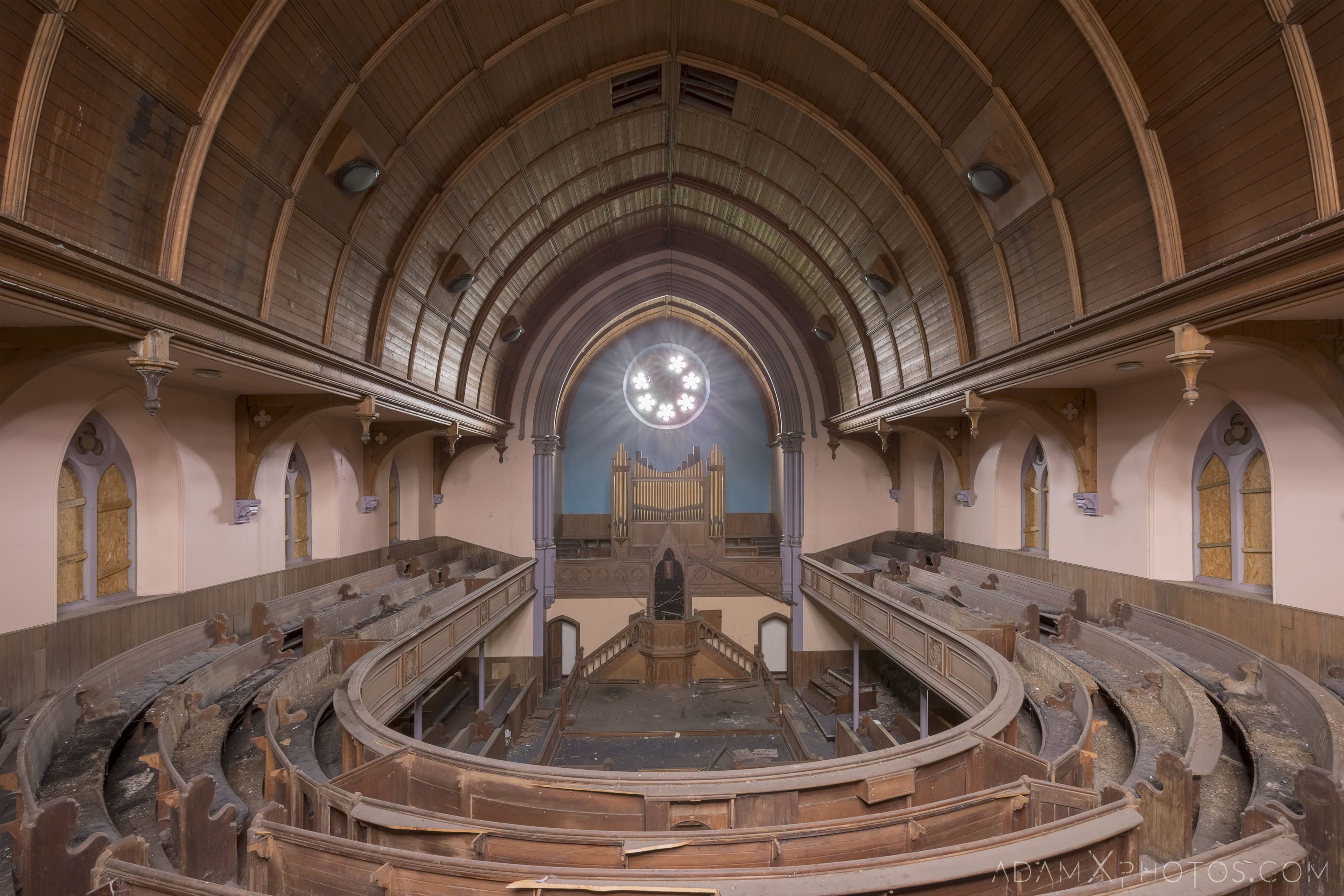 Organ pulpit Main Hall stained glass windows wooden balcony pews St Aidan's Church Galashiels Scotland Circle Church Adam X Urbex Urban Exploration Access 2018 Abandoned decay ruins lost forgotten derelict location creepy haunting eerie