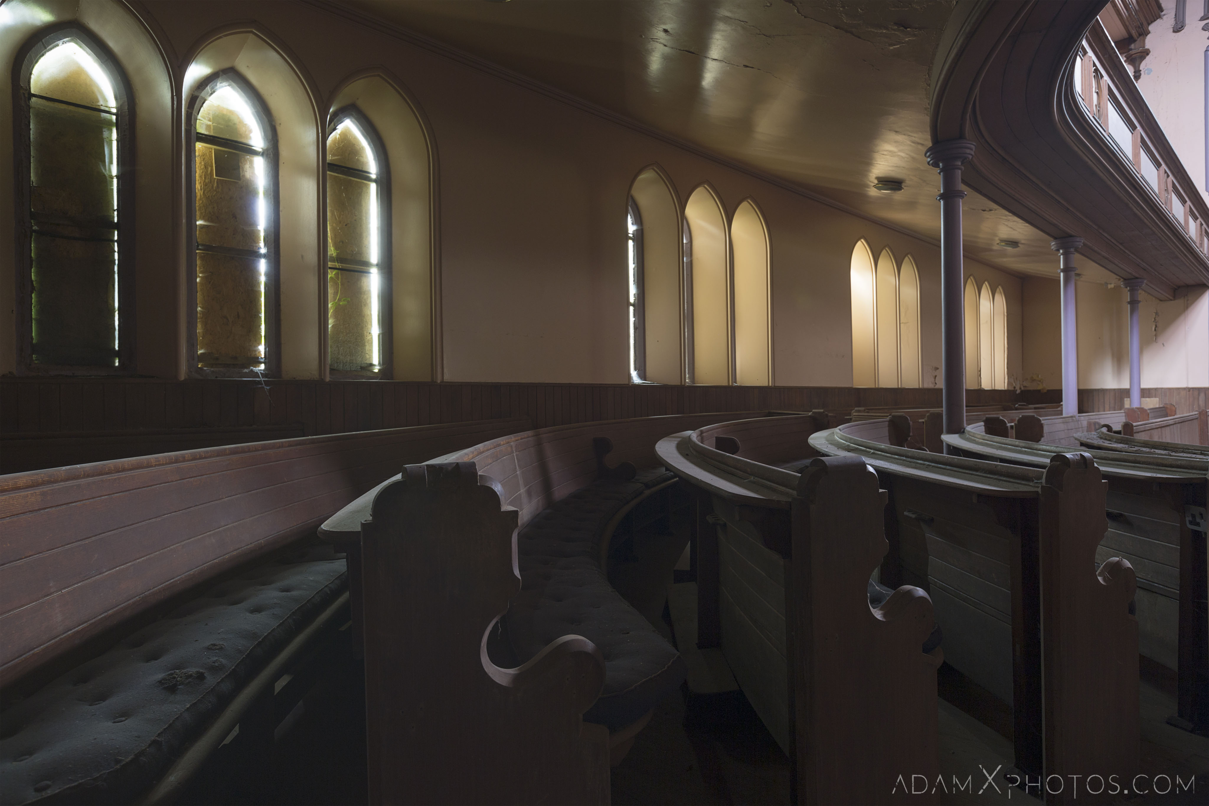 Pews Main Hall stained glass windows wooden balcony pews St Aidan's Church Galashiels Scotland Circle Church Adam X Urbex Urban Exploration Access 2018 Abandoned decay ruins lost forgotten derelict location creepy haunting eerie
