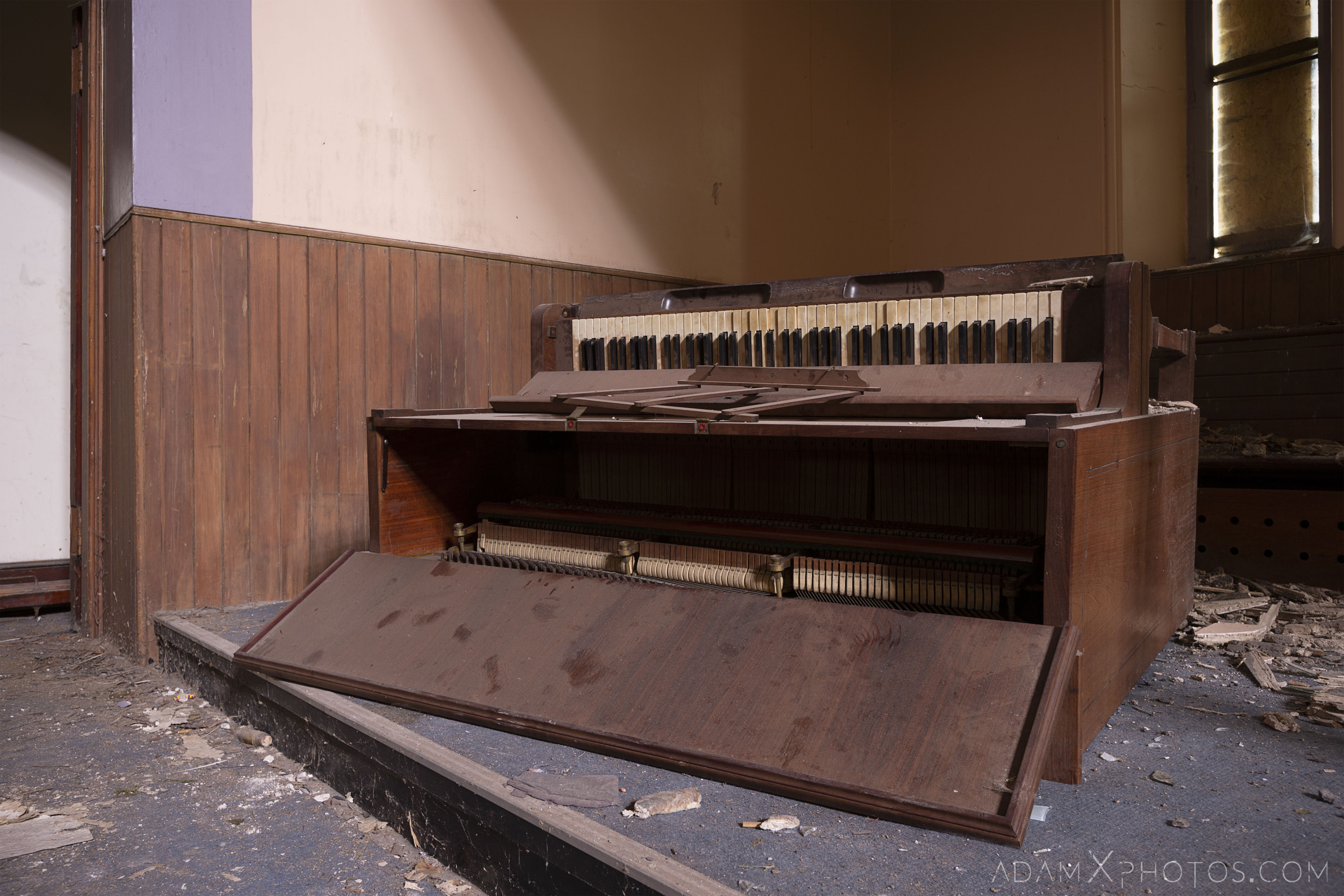 Old Piano Main Hall stained glass windows wooden balcony pews St Aidan's Church Galashiels Scotland Circle Church Adam X Urbex Urban Exploration Access 2018 Abandoned decay ruins lost forgotten derelict location creepy haunting eerie