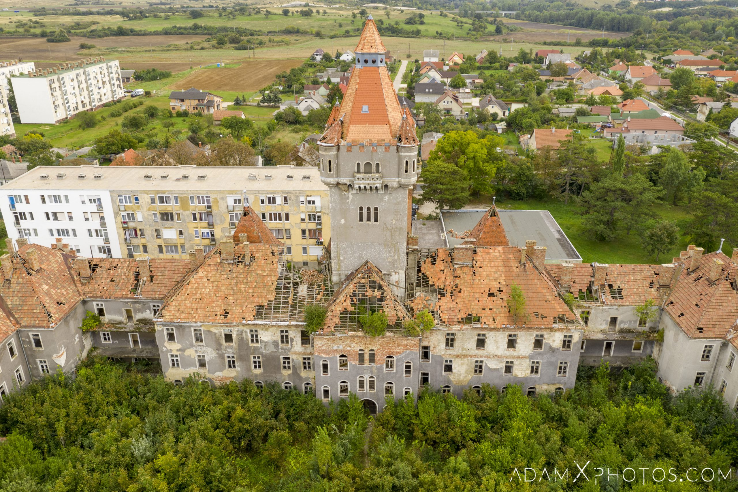 Tower Hajmaskér Barracks drone aerial from above hungary Adam X Urbex Urban Exploration Access 2018 Abandoned decay ruins lost forgotten derelict location creepy haunting eerie