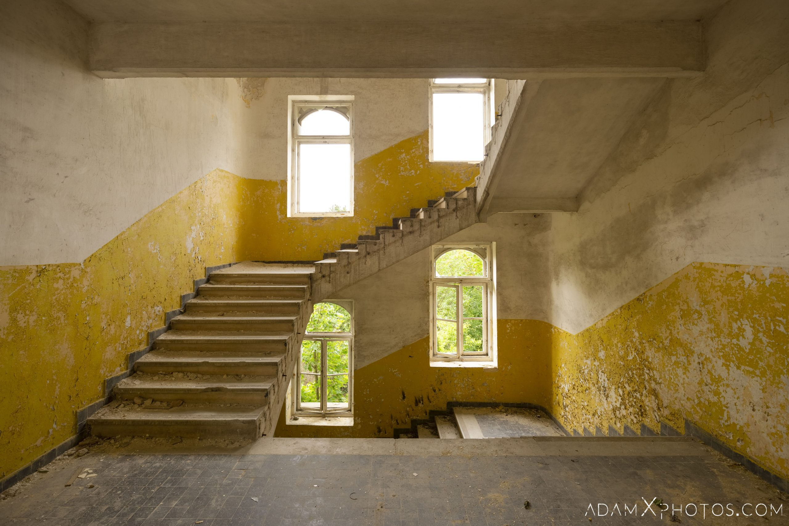 stairwell stairs staircase yellow white Hajmaskér Barracks Hungary Adam X Urbex Urban Exploration Access 2018 Abandoned decay ruins lost forgotten derelict location creepy haunting eerie