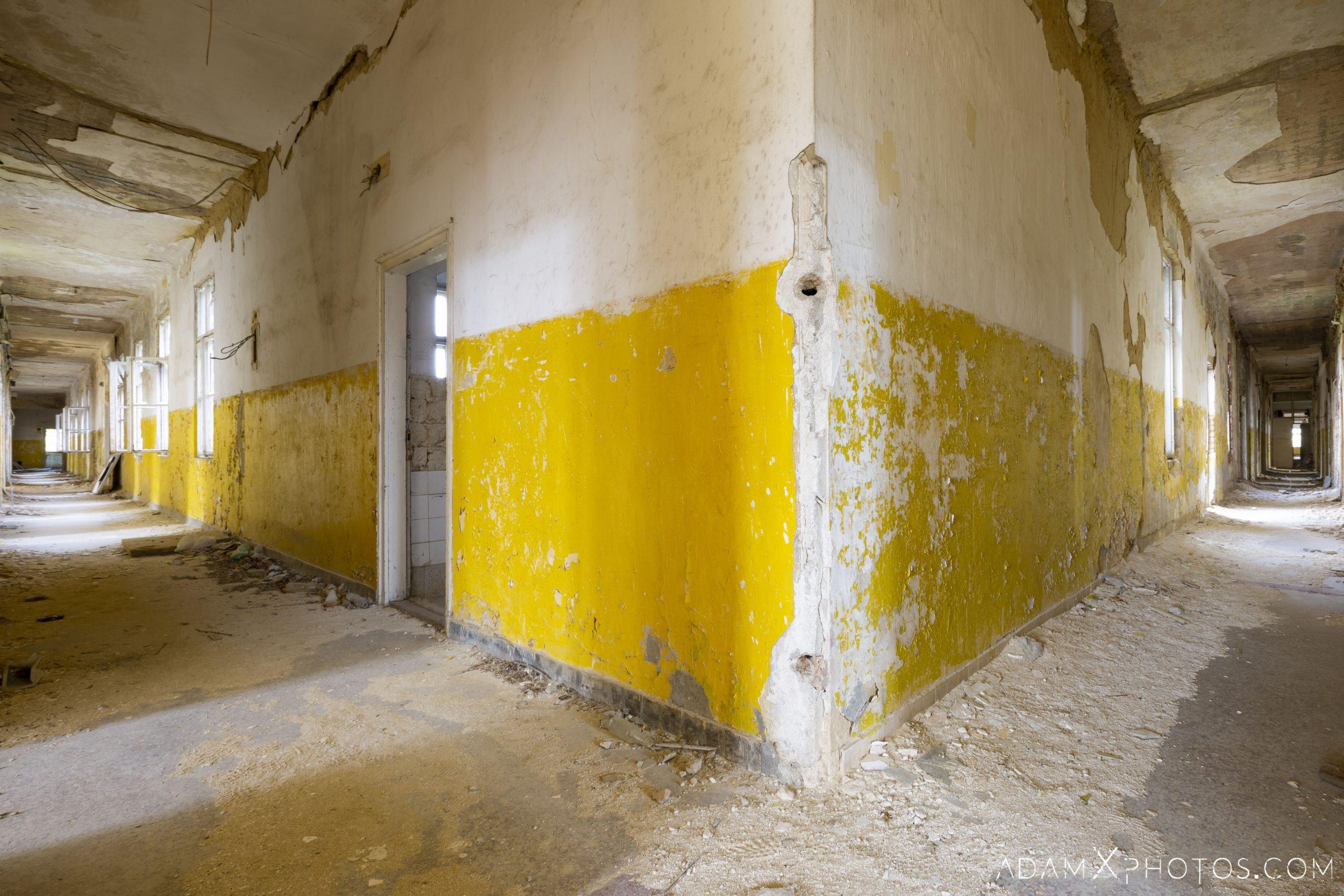 Yellow split twin corridor Hajmaskér Barracks Hungary Adam X Urbex Urban Exploration Access 2018 Abandoned decay ruins lost forgotten derelict location creepy haunting eerie
