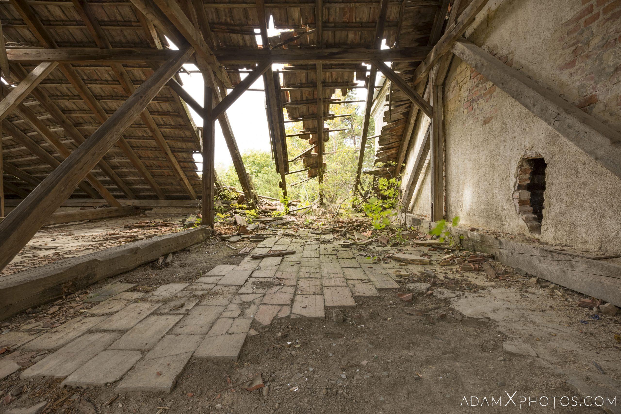 attic broken roof Hajmaskér Barracks Hungary Adam X Urbex Urban Exploration Access 2018 Abandoned decay ruins lost forgotten derelict location creepy haunting eerie