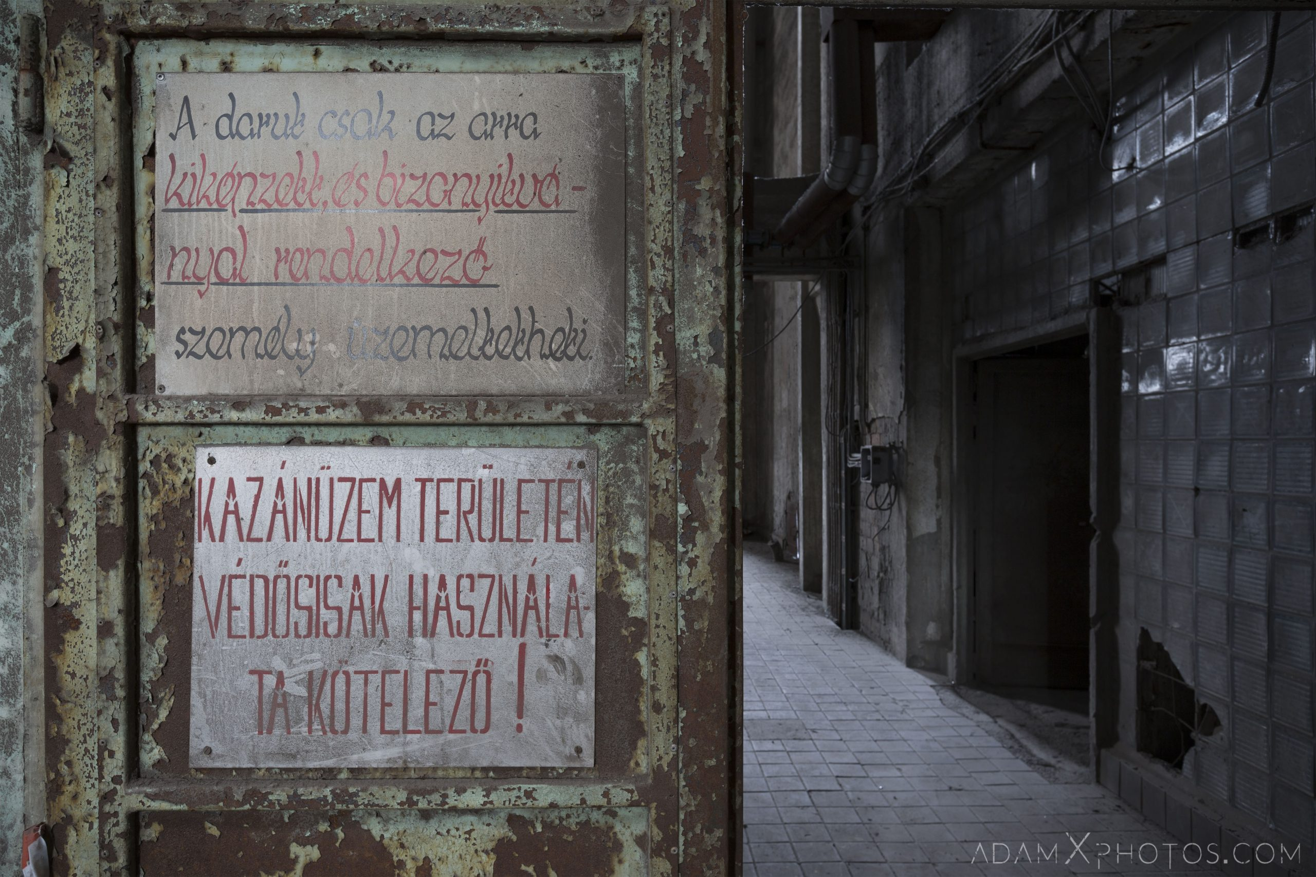 warning notice sign industry industrial rusty rusting Bladerunner Blade Runner 2049 Powerplant Inota Shephard's Power Plant Hungary Adam X Urbex Urban Exploration Access 2018 Abandoned decay ruins lost forgotten derelict location creepy haunting eerie security