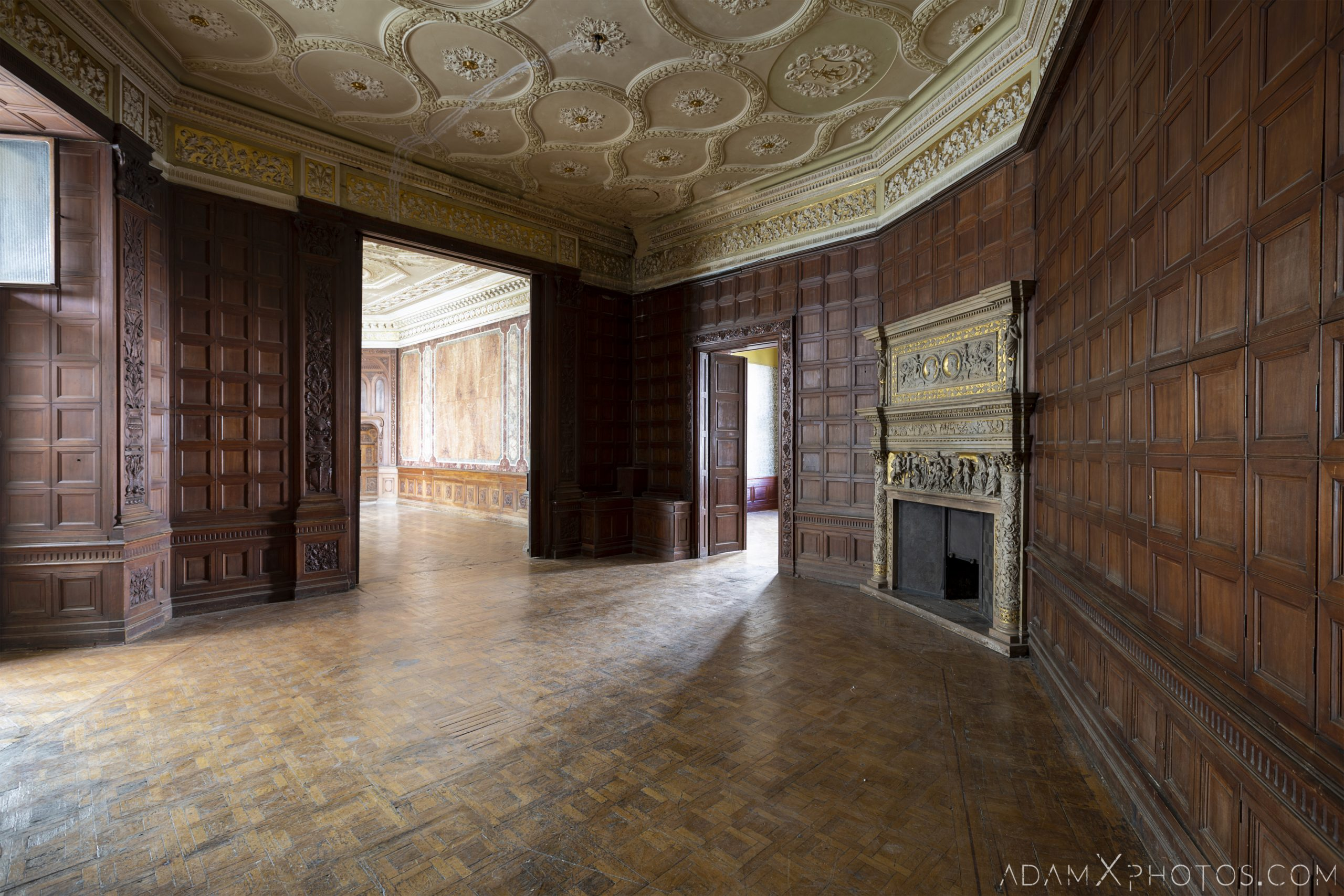 wooden panels fireplace ceiling Adria Palace Budapest Hungary Adam X Urbex Urban Exploration Access 2018 Blade Runner 2049 Abandoned decay ruins lost forgotten derelict location creepy haunting eerie security ornate grand neo baroque
