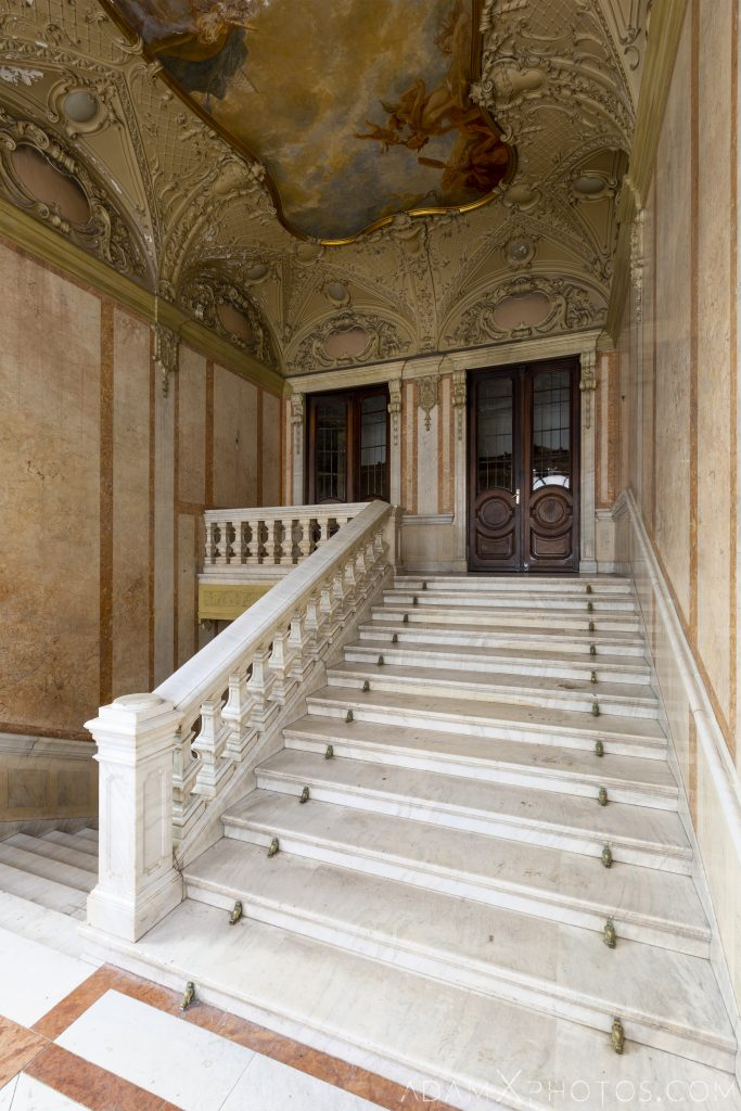 Staircase stairs marble Adria Palace Budapest Hungary Adam X Urbex Urban Exploration Access 2018 Blade Runner 2049 Abandoned decay ruins lost forgotten derelict location creepy haunting eerie security ornate grand neo baroque