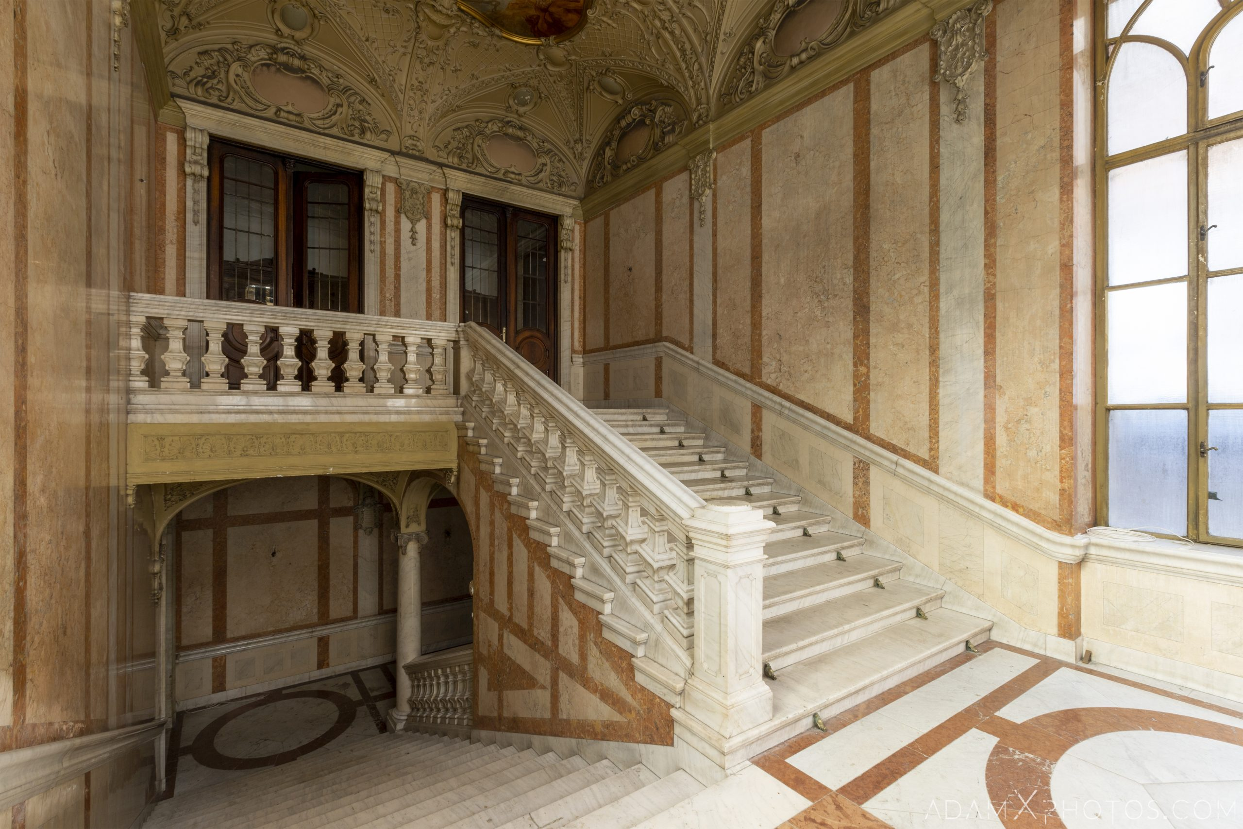 Staircase stairs Adria Palace Budapest Hungary Adam X Urbex Urban Exploration Access 2018 Blade Runner 2049 Abandoned decay ruins lost forgotten derelict location creepy haunting eerie security ornate grand neo baroque