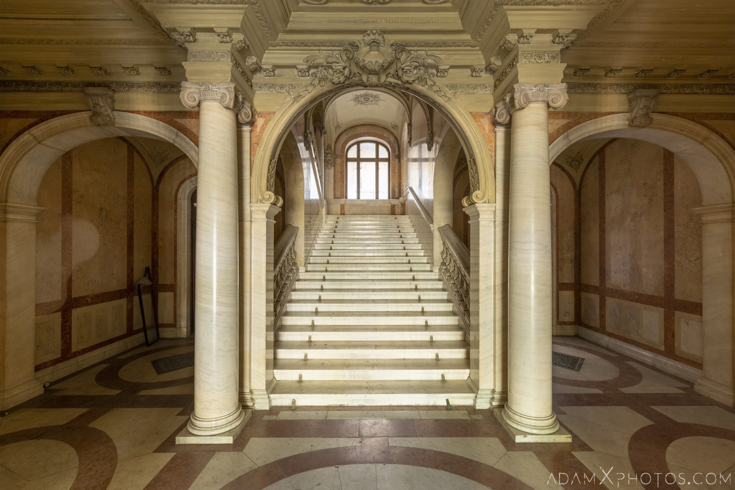Entrance lobby foyer reception hall marble arches Adria Palace Budapest Hungary Adam X Urbex Urban Exploration Access 2018 Blade Runner 2049 Abandoned decay ruins lost forgotten derelict location creepy haunting eerie security ornate grand neo baroque
