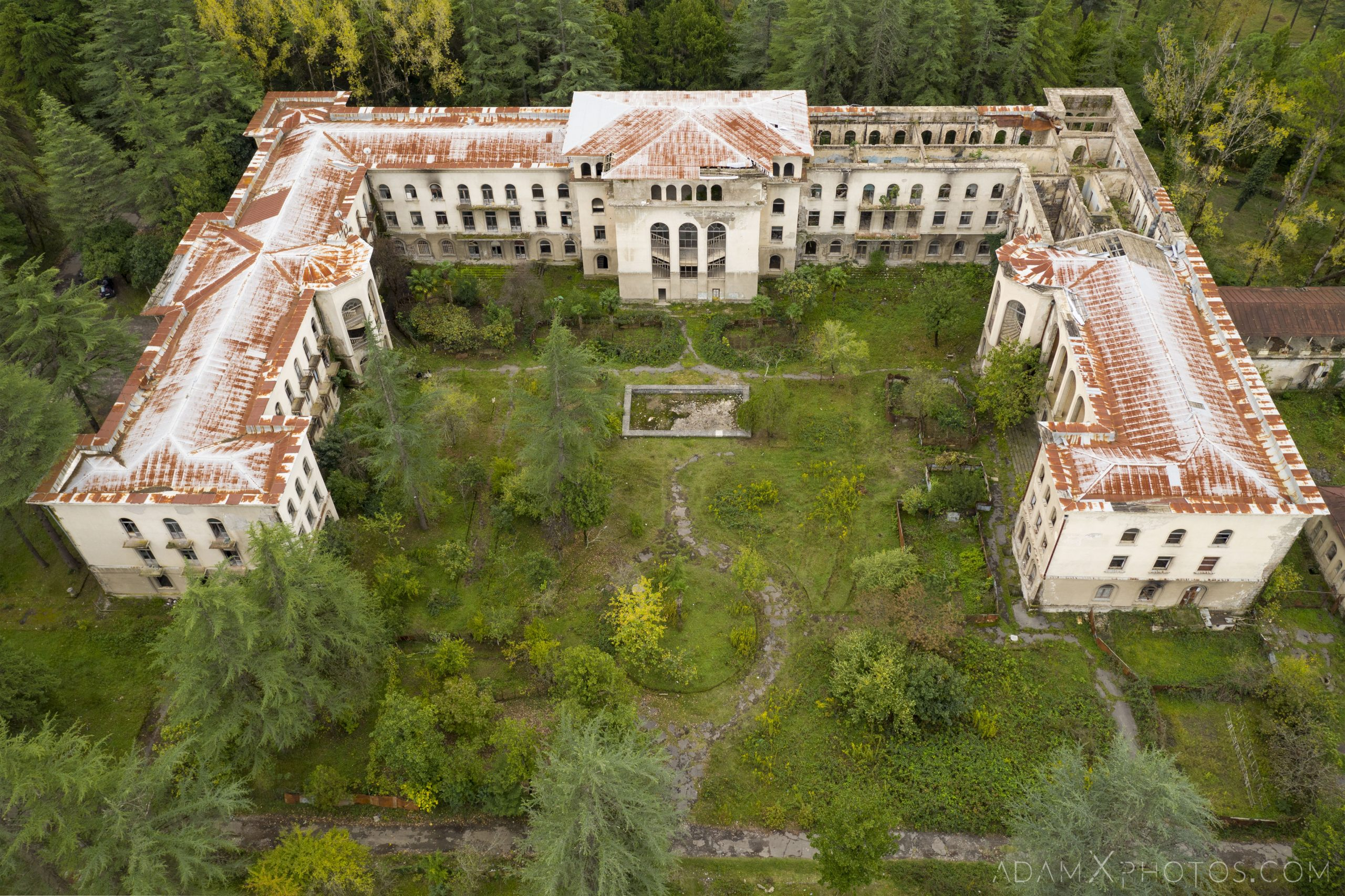 Drone DJI Mavic Pro 2 aerial above looking down Sanatorium Imereti Tskaltubo Georgia Soviet era Adam X Urbex Urban Exploration 2018 Abandoned Access History decay ruins lost forgotten derelict location creepy haunting eerie security