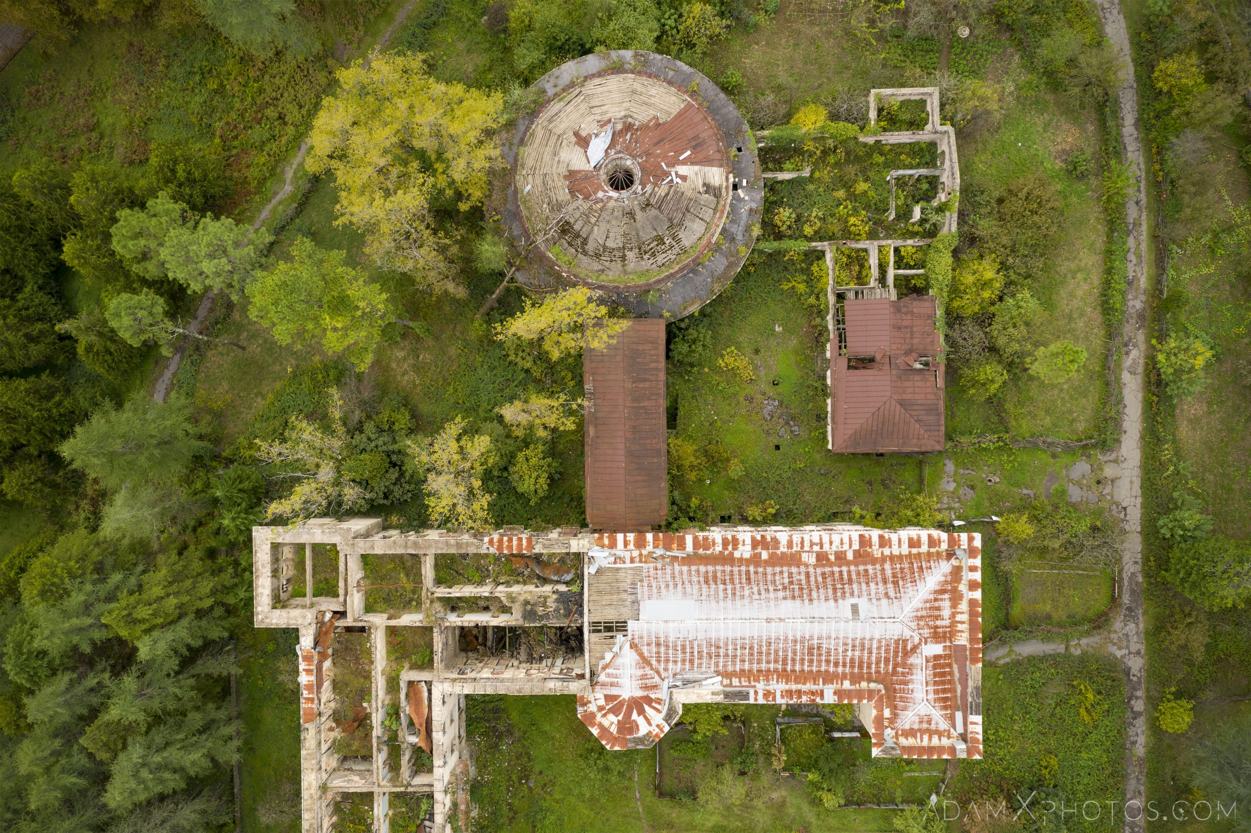 Bath House Drone DJI Mavic Pro 2 aerial above looking down Sanatorium Imereti Tskaltubo Georgia Soviet era Adam X Urbex Urban Exploration 2018 Abandoned Access History decay ruins lost forgotten derelict location creepy haunting eerie security