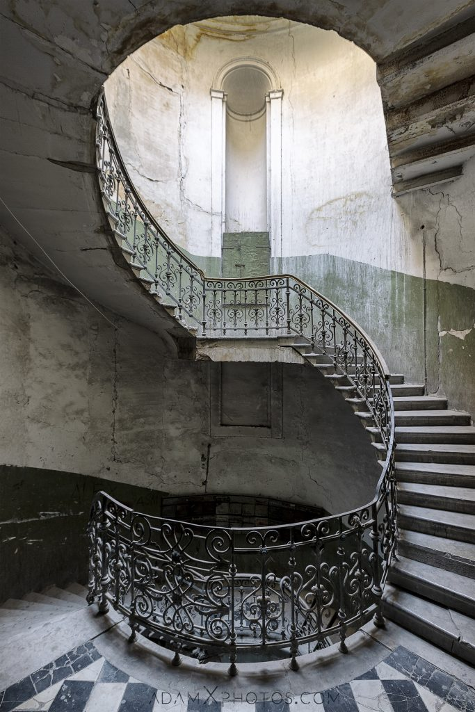 S Green staircase stairs stairwell ornate spiral Tbilisi Georgia Soviet era Adam X Urbex Urban Exploration 2018 Abandoned Access History decay ruins lost forgotten derelict location creepy haunting eerie security