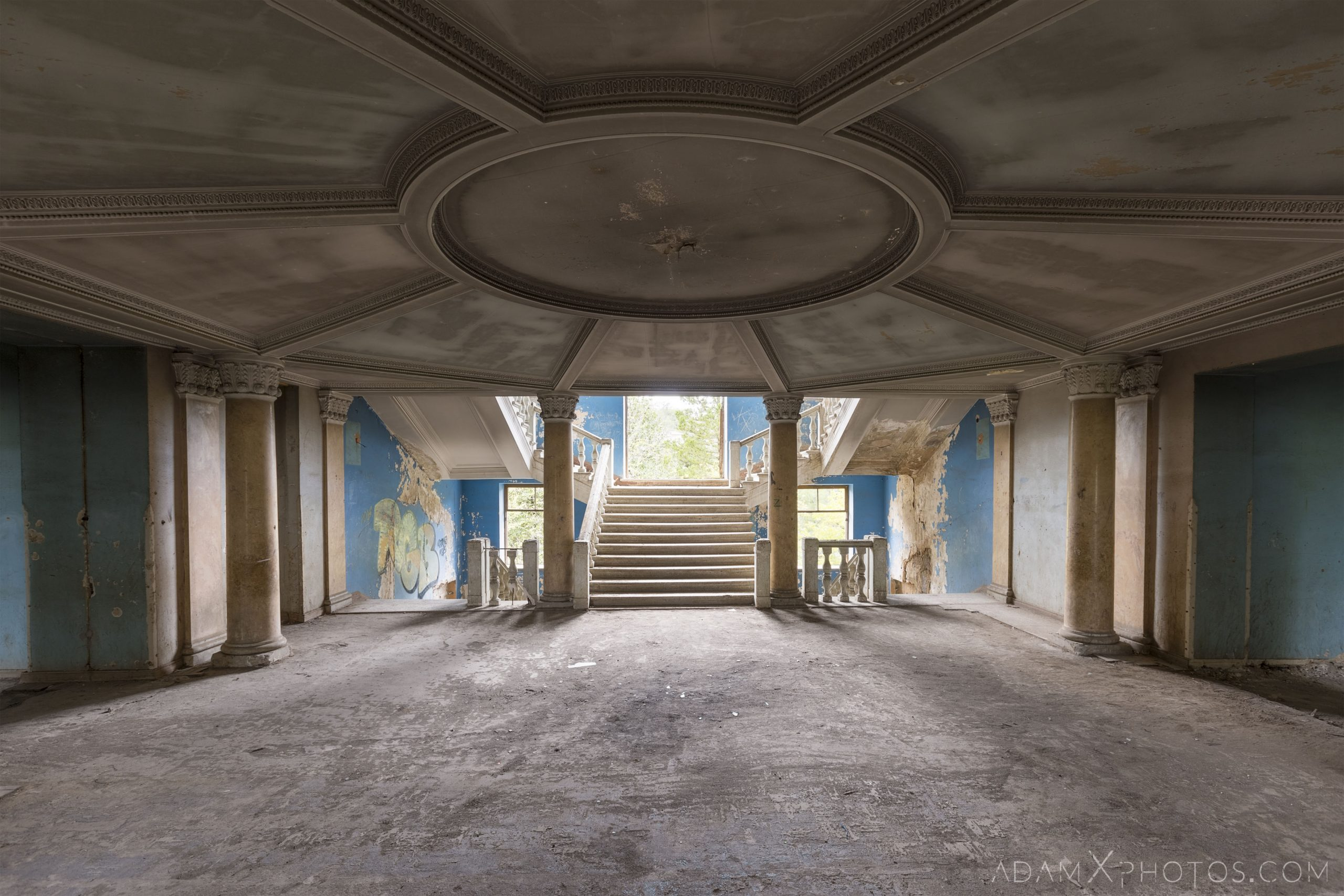 Blue stairs staircase Blue stairs ceiling hole circular graffiti Sanatorium Iveria Tskaltubo Georgia Soviet era Adam X Urbex Urban Exploration 2018 Abandoned Access History decay ruins lost forgotten derelict location creepy haunting eerie security