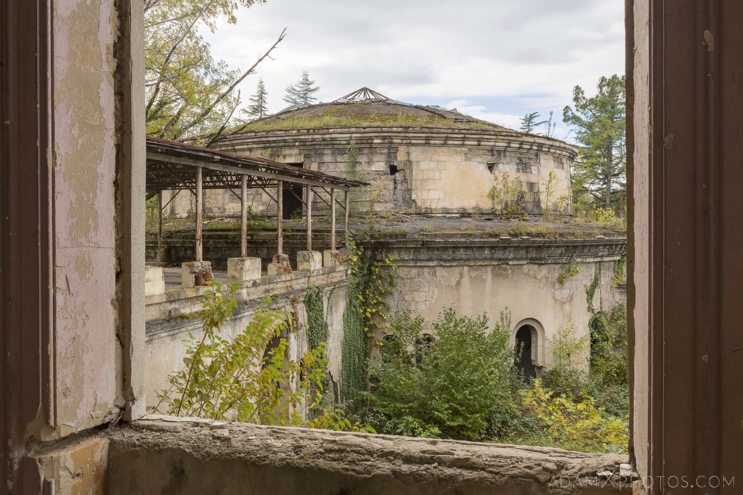 view of the bath house Sanatorium Imereti Tskaltubo Georgia Soviet era Adam X Urbex Urban Exploration 2018 Abandoned Access History decay ruins lost forgotten derelict location creepy haunting eerie security