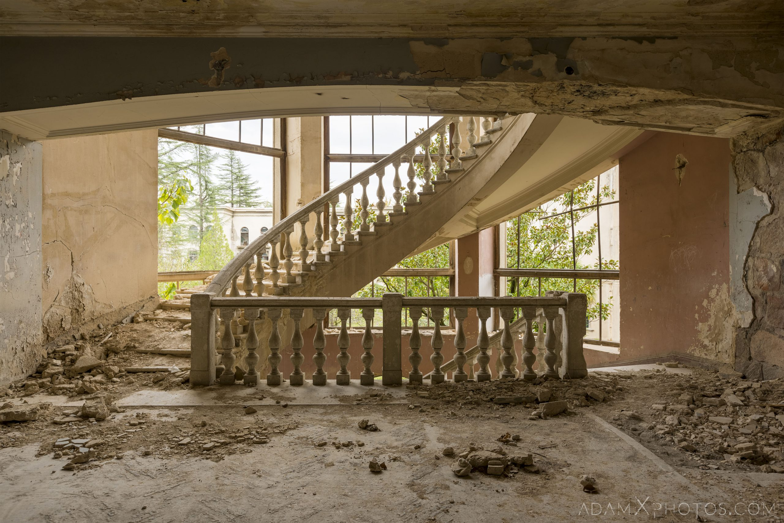 ornate staircase stairs Sanatorium Imereti Tskaltubo Georgia Soviet era Adam X Urbex Urban Exploration 2018 Abandoned Access History decay ruins lost forgotten derelict location creepy haunting eerie security