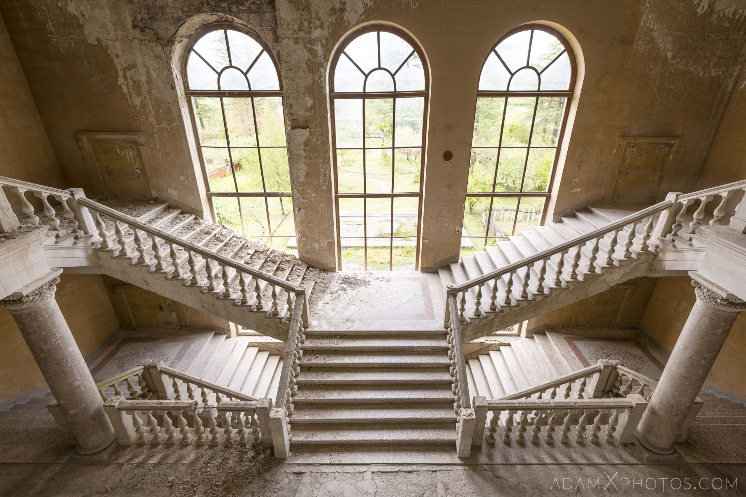 ornate beautiful split staircase stairs stone Sanatorium Imereti Tskaltubo Georgia Soviet era Adam X Urbex Urban Exploration 2018 Abandoned Access History decay ruins lost forgotten derelict location creepy haunting eerie security
