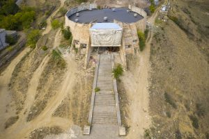 Drone Aerial from above Front entrance Soviet Monument Archeological Museum Tbilisi Georgia Soviet era Adam X Urbex Urban Exploration 2018 Abandoned Access History decay ruins lost forgotten derelict location creepy haunting eerie security