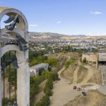 Monument to Saint Nino Archeological Museum Drone Aerial from above Front entrance Soviet Monument to Saint Nino Tbilisi Georgia Soviet era Adam X Urbex Urban Exploration 2018 Abandoned Access History decay ruins lost forgotten derelict location creepy haunting eerie security