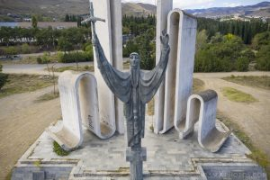 Monument to Saint Nino statue Drone Aerial from above Front entrance Soviet Monument to Saint Nino Tbilisi Georgia Soviet era Adam X Urbex Urban Exploration 2018 Abandoned Access History decay ruins lost forgotten derelict location creepy haunting eerie security