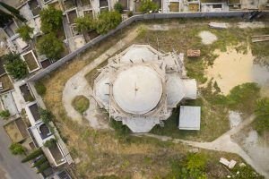 Church Drone Aerial from above Front entrance Soviet Monument to Saint Nino Tbilisi Georgia Soviet era Adam X Urbex Urban Exploration 2018 Abandoned Access History decay ruins lost forgotten derelict location creepy haunting eerie security