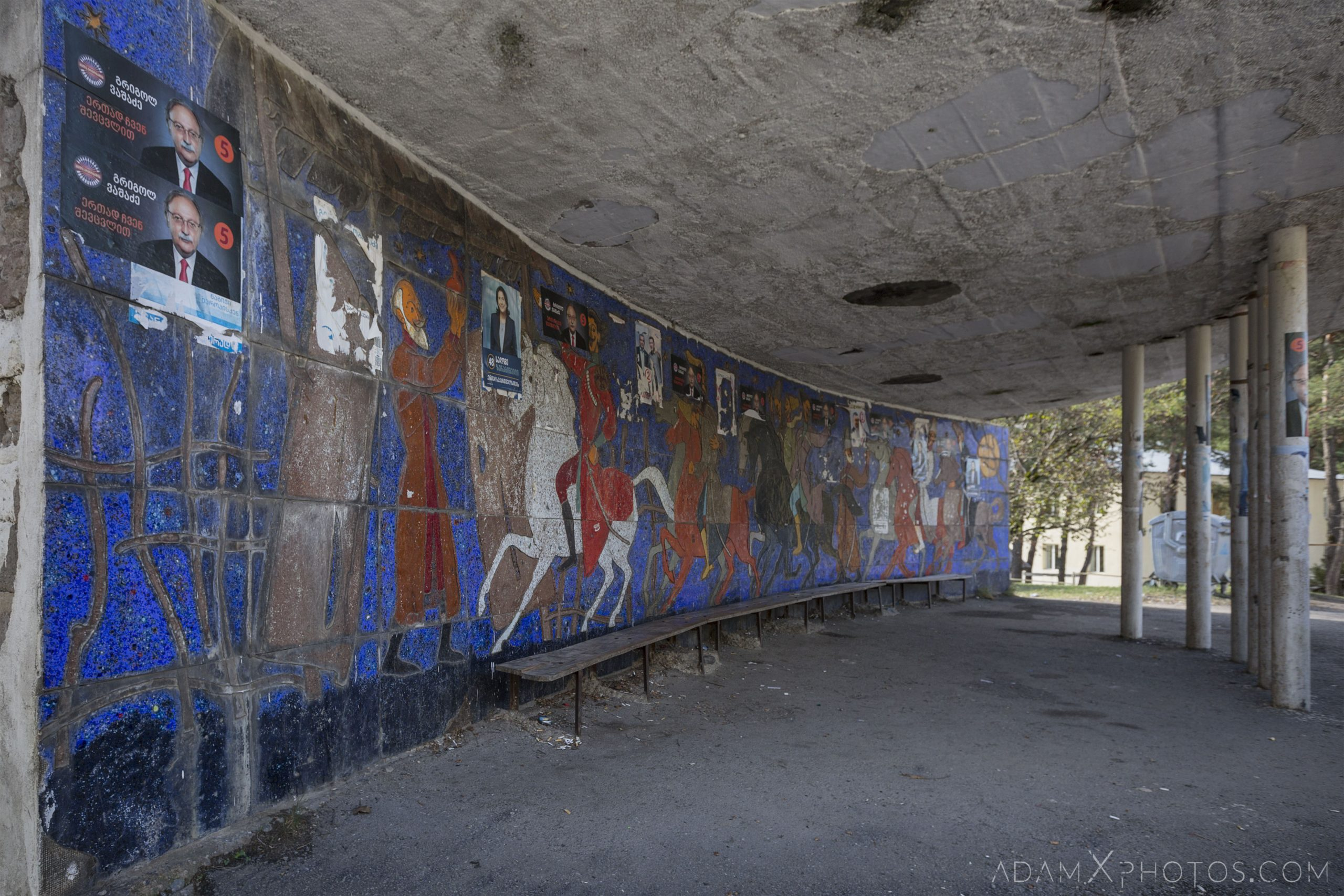 Georgia Soviet Boriti Bus Stop rural mosaic mural retro Adam X Urbex Urban Exploration 2018 Abandoned Access History decay ruins lost forgotten derelict location creepy haunting eerie security