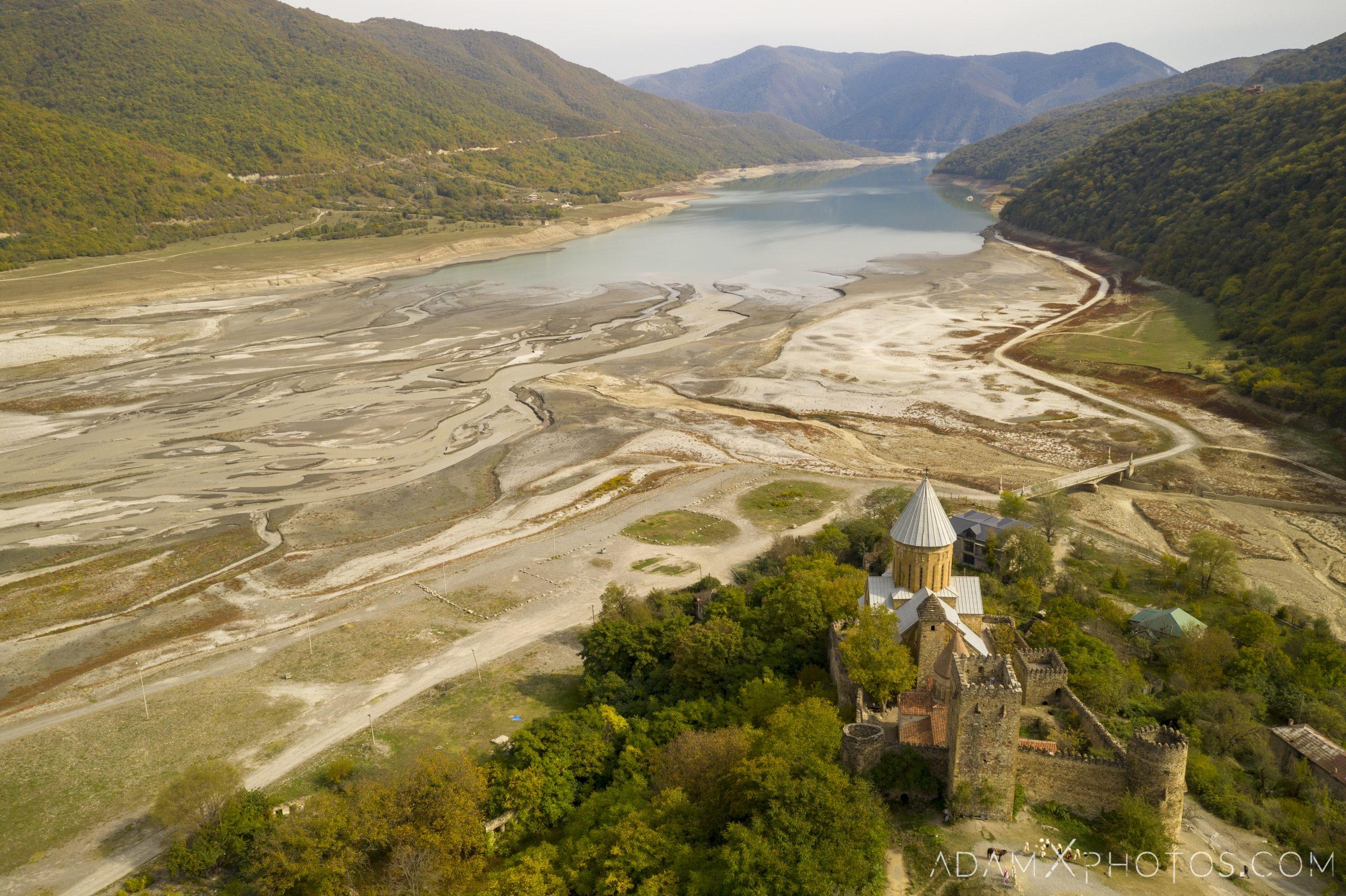 Drone from above aerial DJI Ananuri Castle Church Georgia Adam X AdamXPhotos Urbex Urban Exploration 2018 Abandoned ruins lost forgotten derelict location