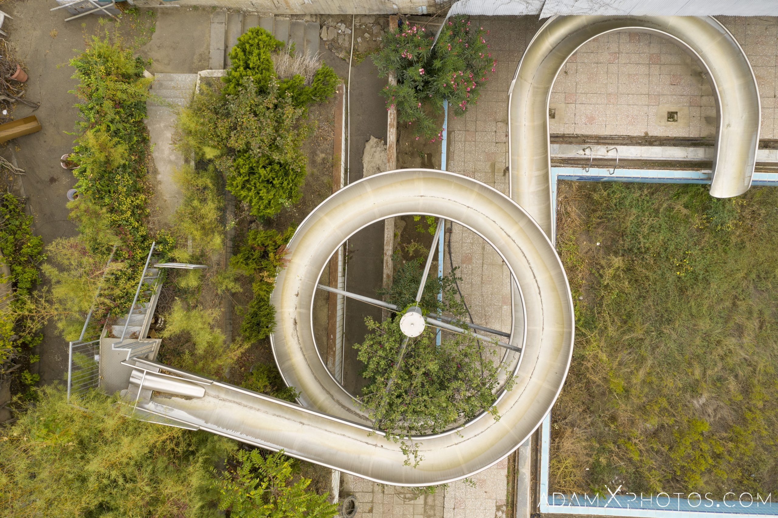 Water slide drone from above aerial Laguna Vere swimming pool Tbilisi Georgia Soviet era Adam X AdamXPhotos Urbex Urban Exploration 2018 Abandoned Access History decay ruins lost forgotten derelict location creepy haunting eerie security