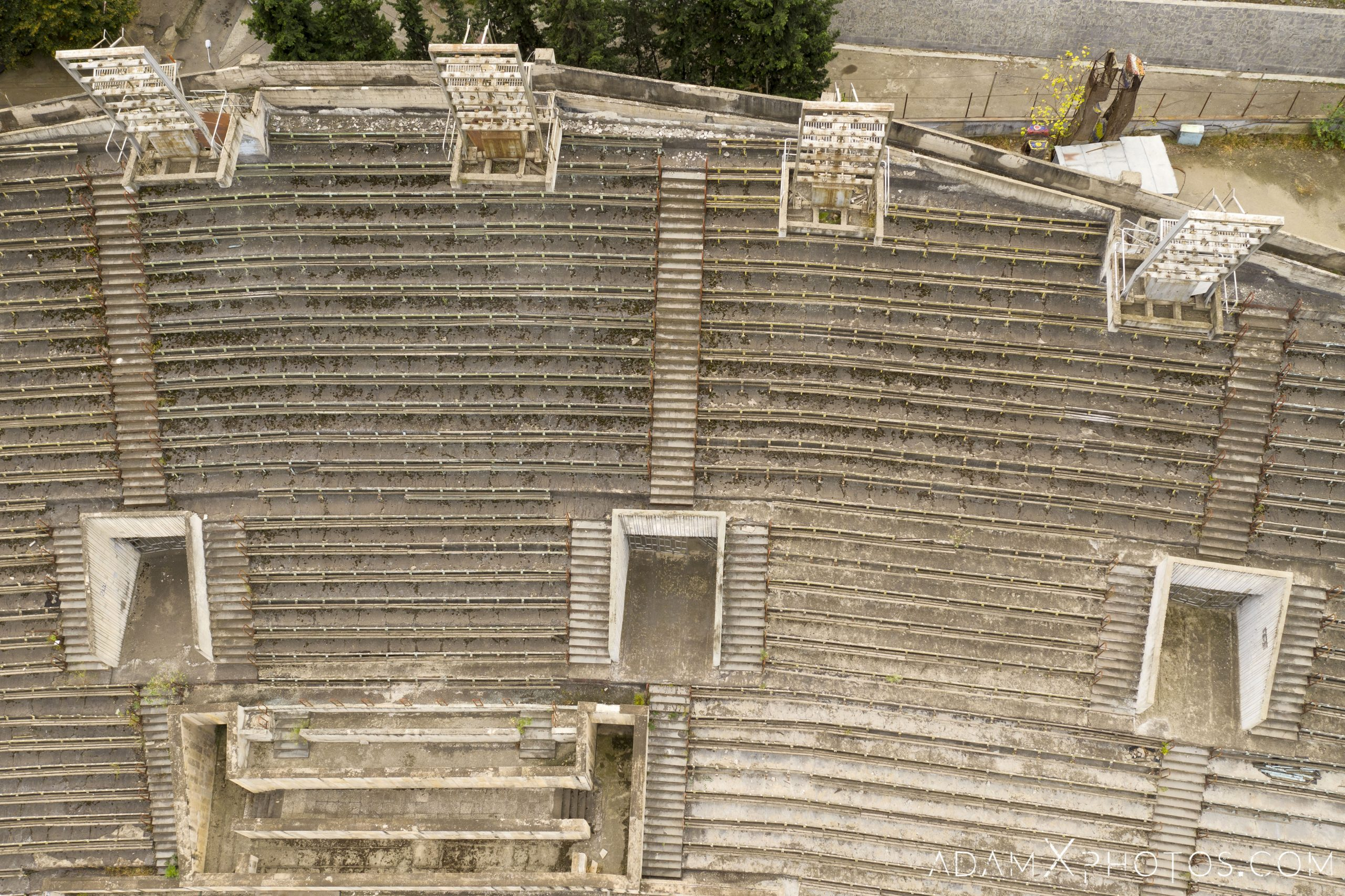 Stands bleachers drone from above aerial Laguna Vere swimming pool Tbilisi Georgia Soviet era Adam X AdamXPhotos Urbex Urban Exploration 2018 Abandoned Access History decay ruins lost forgotten derelict location creepy haunting eerie security