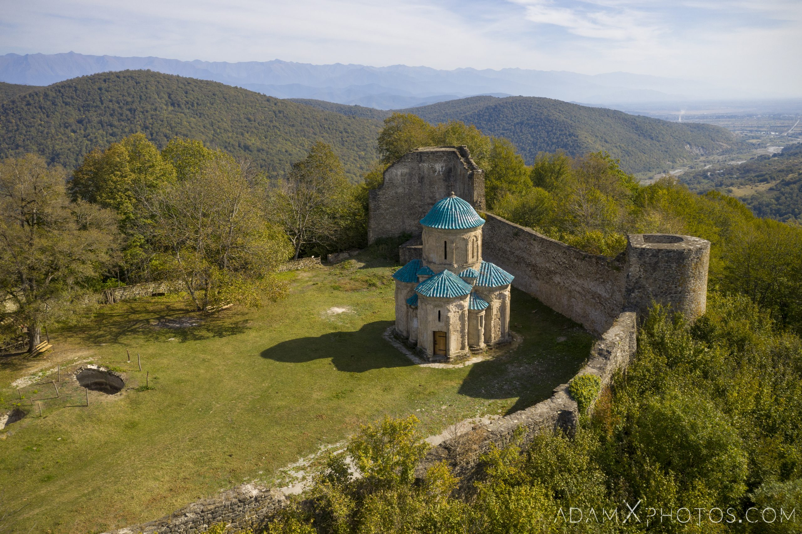 Drone shot above aerial Outside exterior front entrance blue roof Kvetera Church Georgian Orthodox fortress Georgia Adam X AdamXPhotos Urbex Urban Exploration 2018 Abandoned ruins lost forgotten derelict location