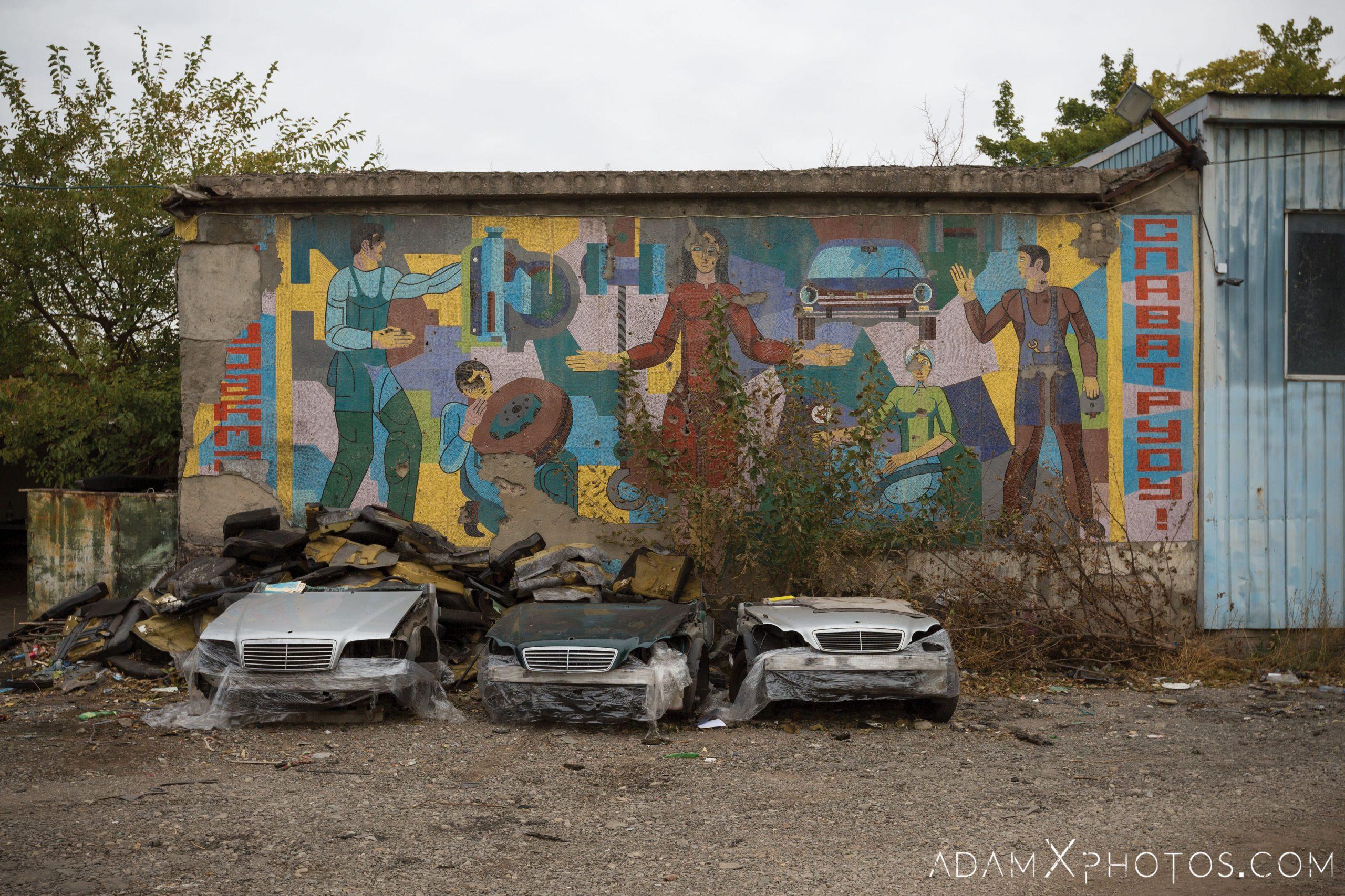 Soviet mural car cars mechanics garage workshop retro cool architecture Tbilisi Georgia Adam X AdamXPhotos Urbex Urban Exploration 2018 2019 Abandoned Access History decay ruins lost forgotten derelict location creepy haunting eerie security