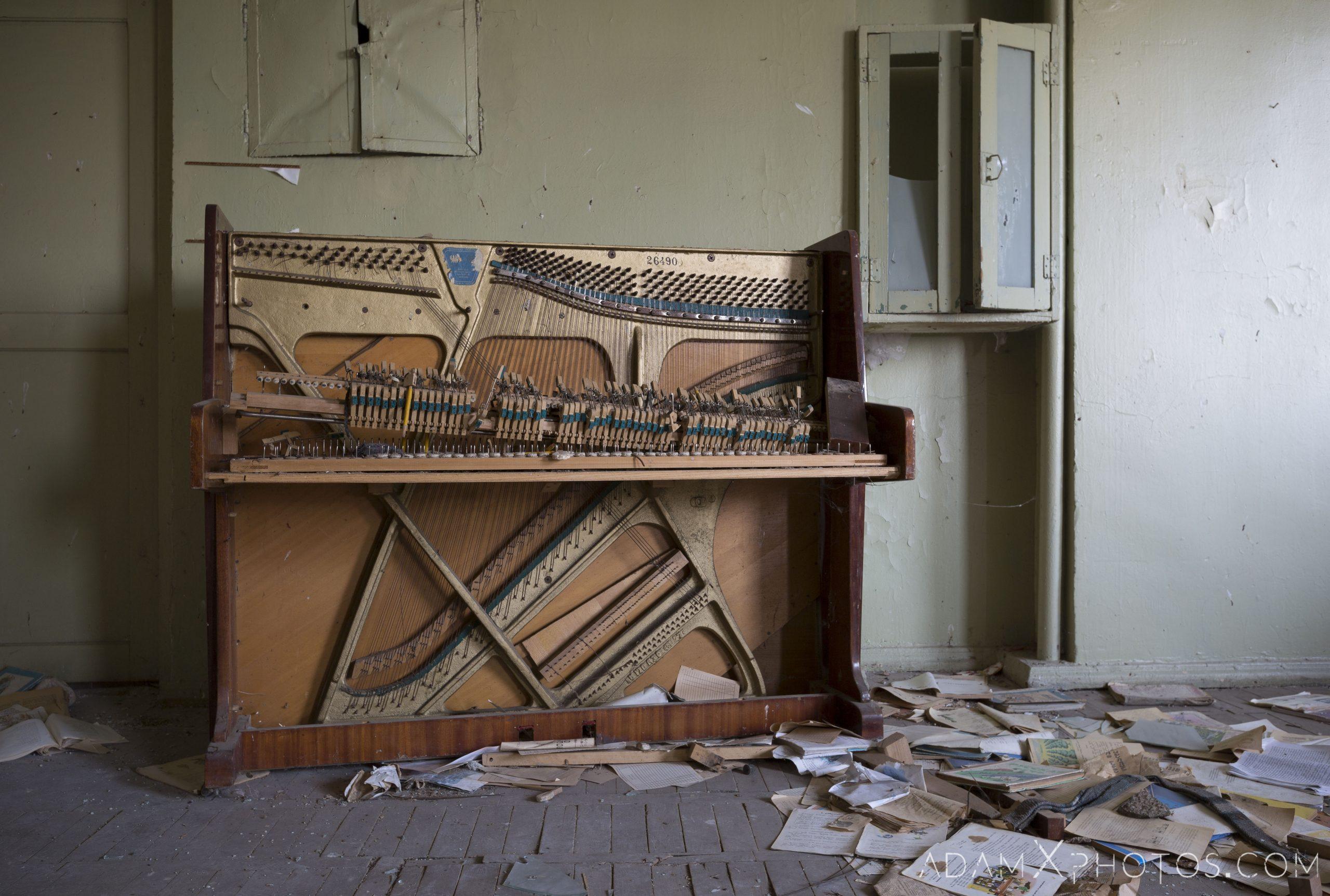 Broken piano classroom Abandoned School rural Soviet era Georgia Adam X AdamXPhotos Urbex Urban Exploration 2018 2019 Abandoned Access History decay ruins lost forgotten derelict location creepy haunting eerie security