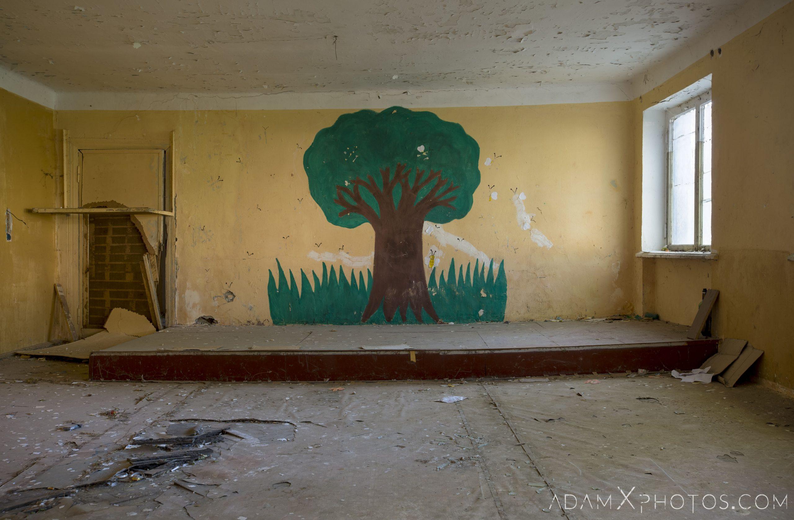 tree painting classroom Abandoned School rural Soviet era Georgia Adam X AdamXPhotos Urbex Urban Exploration 2018 2019 Abandoned Access History decay ruins lost forgotten derelict location creepy haunting eerie security