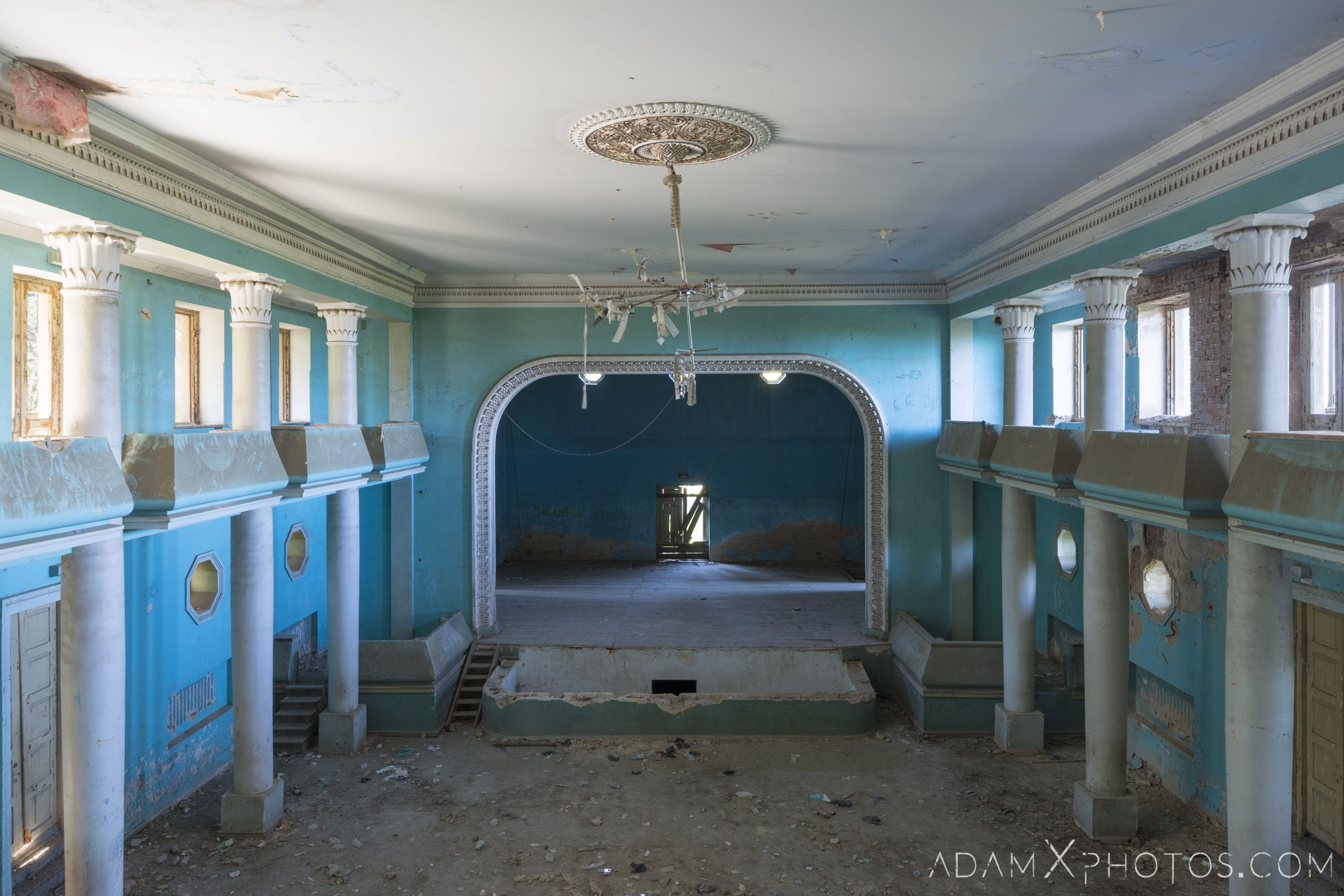 Balcony view chandelier House of Culture Palace Blue rural Soviet era Georgia Adam X AdamXPhotos Urbex Urban Exploration 2018 Abandoned Access History decay ruins lost forgotten derelict location creepy haunting eerie security