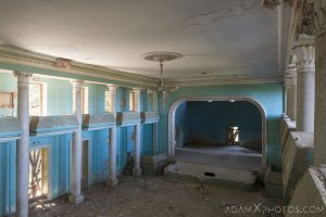 View from balcony side House of Culture Palace Blue rural Soviet era Georgia Adam X AdamXPhotos Urbex Urban Exploration 2018 Abandoned Access History decay ruins lost forgotten derelict location creepy haunting eerie security