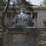 Stalin Front outside exterior external statue defaced House of Culture Palace Blue rural Soviet era Georgia Adam X AdamXPhotos Urbex Urban Exploration 2018 Abandoned Access History decay ruins lost forgotten derelict location creepy haunting eerie security