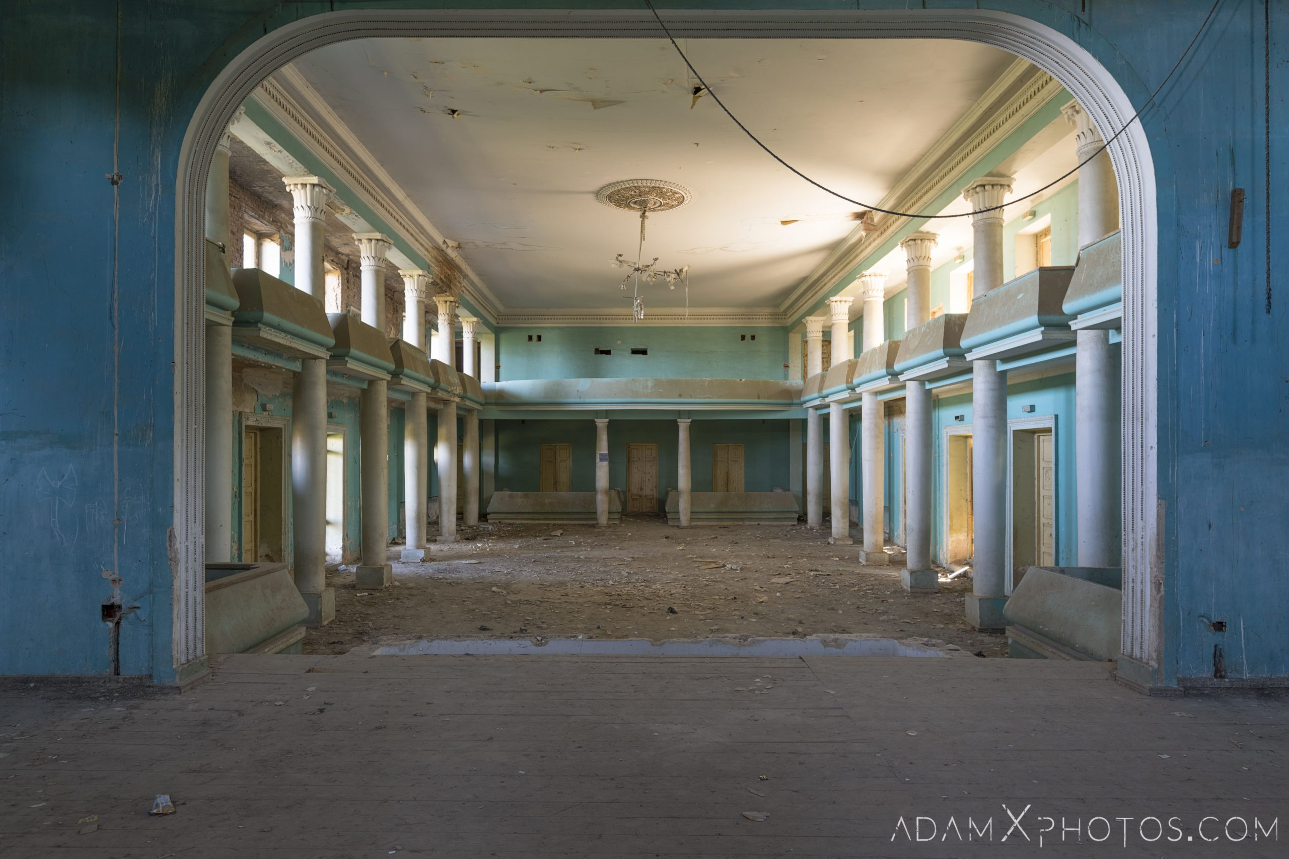 Stage House of Culture Palace Blue rural Soviet era Georgia Adam X AdamXPhotos Urbex Urban Exploration 2018 Abandoned Access History decay ruins lost forgotten derelict location creepy haunting eerie security