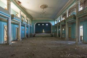main hall and stage House of Culture Palace Blue rural Soviet era Georgia Adam X AdamXPhotos Urbex Urban Exploration 2018 Abandoned Access History decay ruins lost forgotten derelict location creepy haunting eerie security