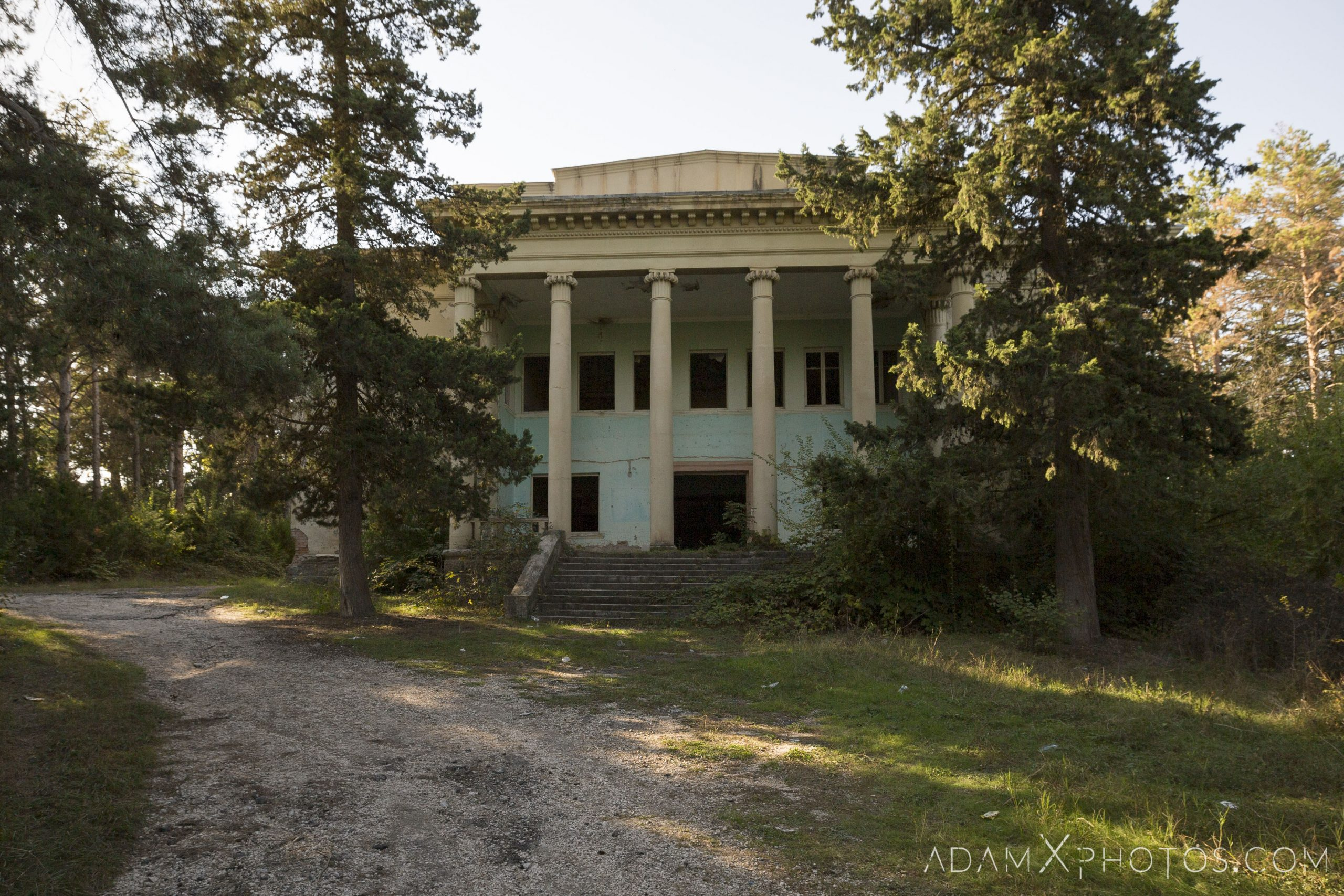 External exterior front outside House of Culture Palace Pink rural Soviet era Georgia Adam X AdamXPhotos Urbex Urban Exploration 2018 Abandoned Access History decay ruins lost forgotten derelict location creepy haunting eerie security