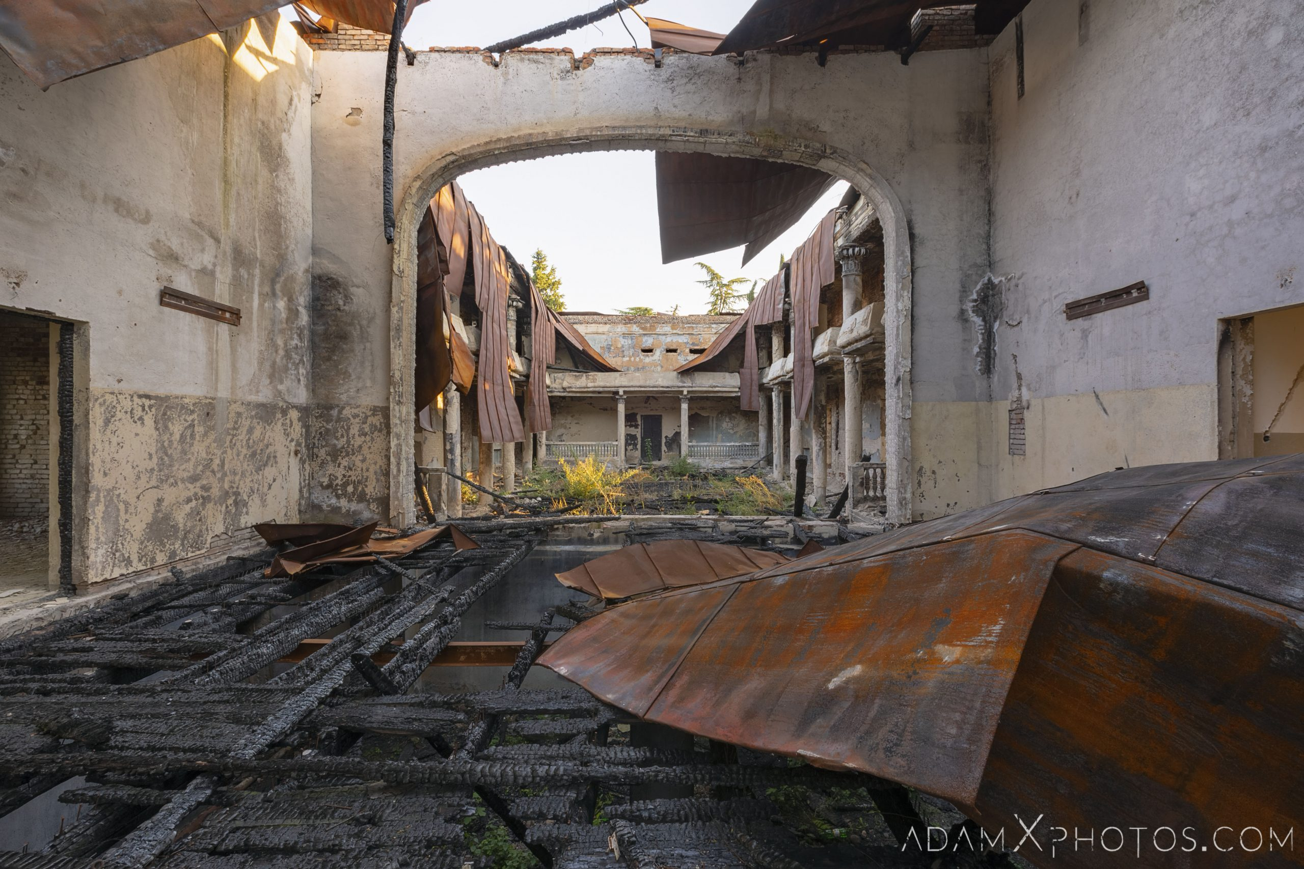 Inside Burned burnt collapsed roof metal House of Culture Palace rural Soviet era Georgia Adam X AdamXPhotos Urbex Urban Exploration 2018 Abandoned Access History decay ruins lost forgotten derelict location creepy haunting eerie security