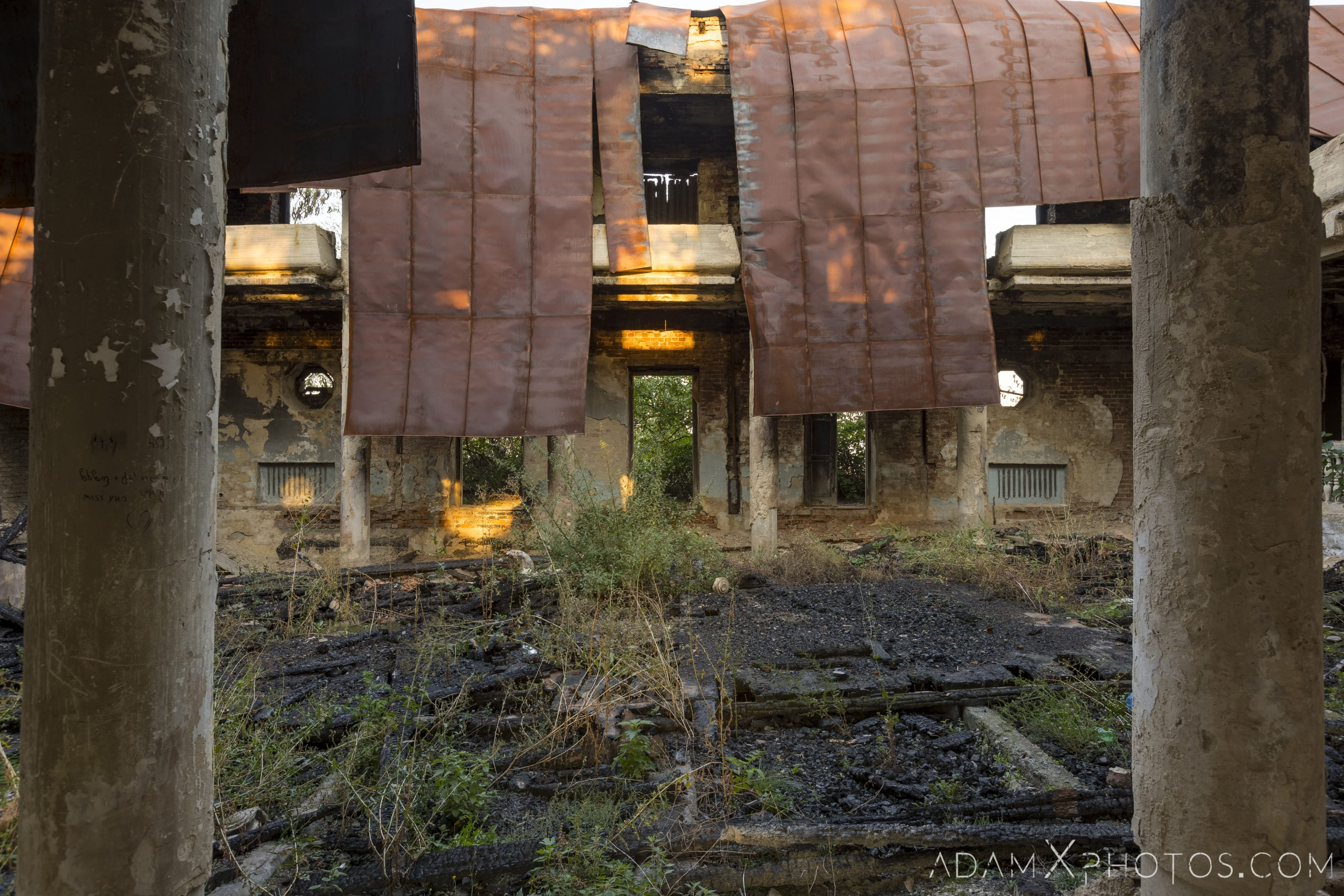 Side view Burned burnt collapsed roof metal House of Culture Palace rural Soviet era Georgia Adam X AdamXPhotos Urbex Urban Exploration 2018 Abandoned Access History decay ruins lost forgotten derelict location creepy haunting eerie security