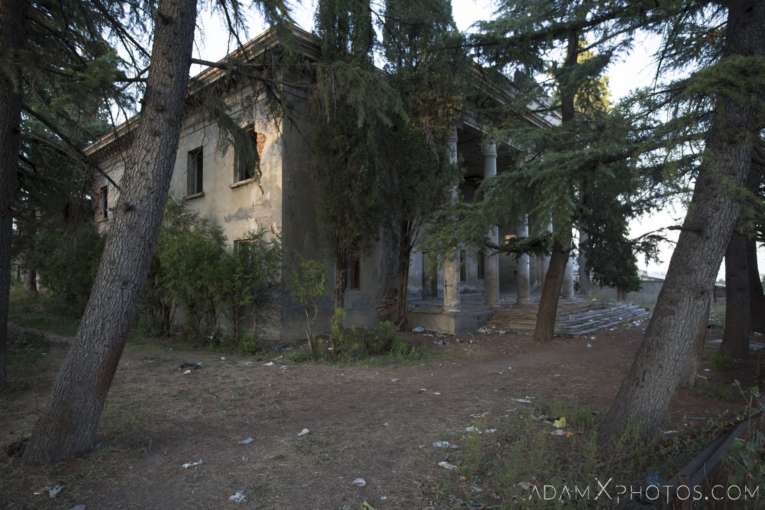 Exterior external front Burned burnt collapsed roof metal House of Culture Palace rural Soviet era Georgia Adam X AdamXPhotos Urbex Urban Exploration 2018 Abandoned Access History decay ruins lost forgotten derelict location creepy haunting eerie security