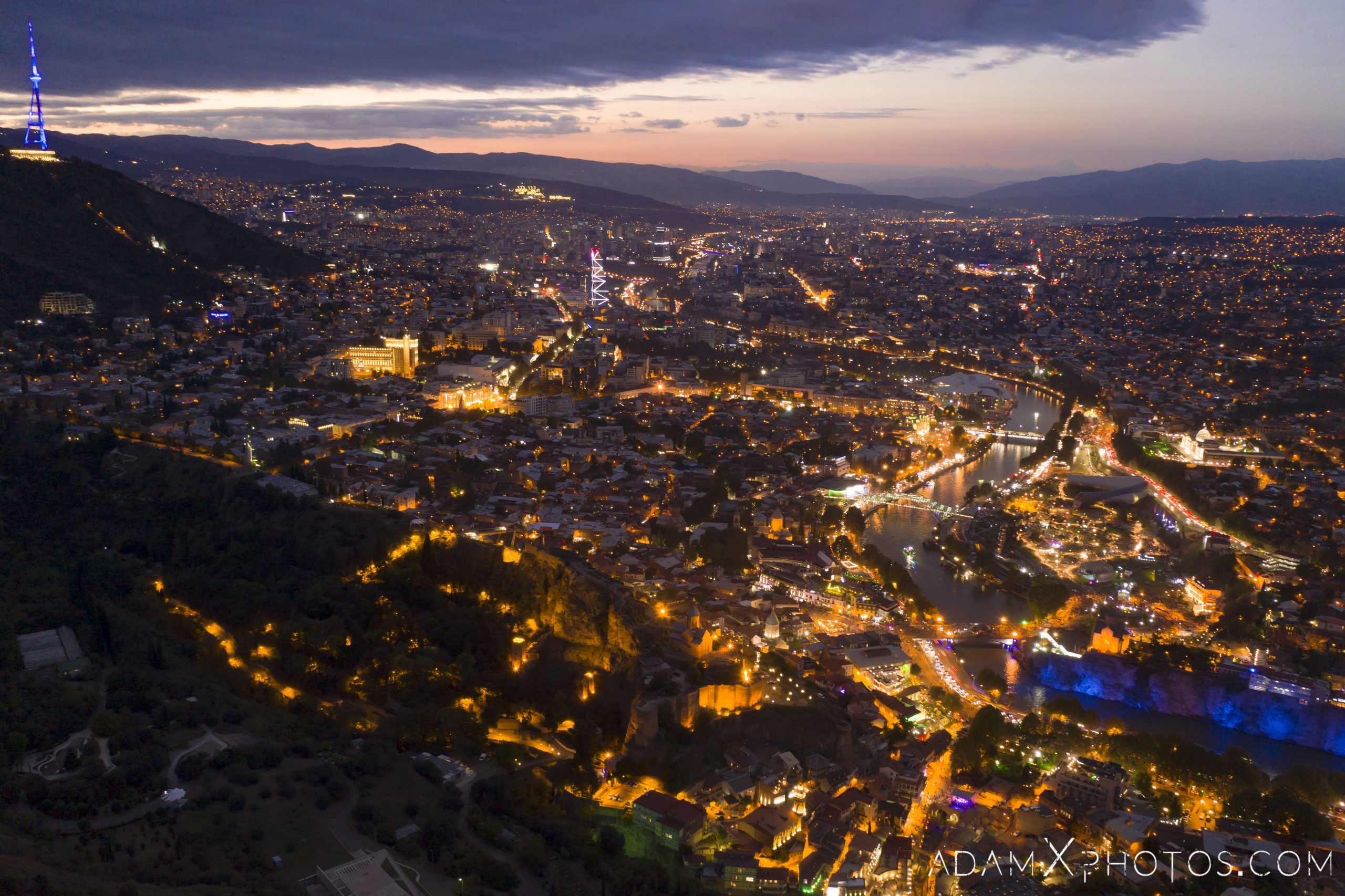 Drone from above aerial DJI Mavic Pro 2 Georgia Tbilisi Night photograph photography sunset beautiful landscape best Adam X AdamXPhotos lights colourful architecture architectural